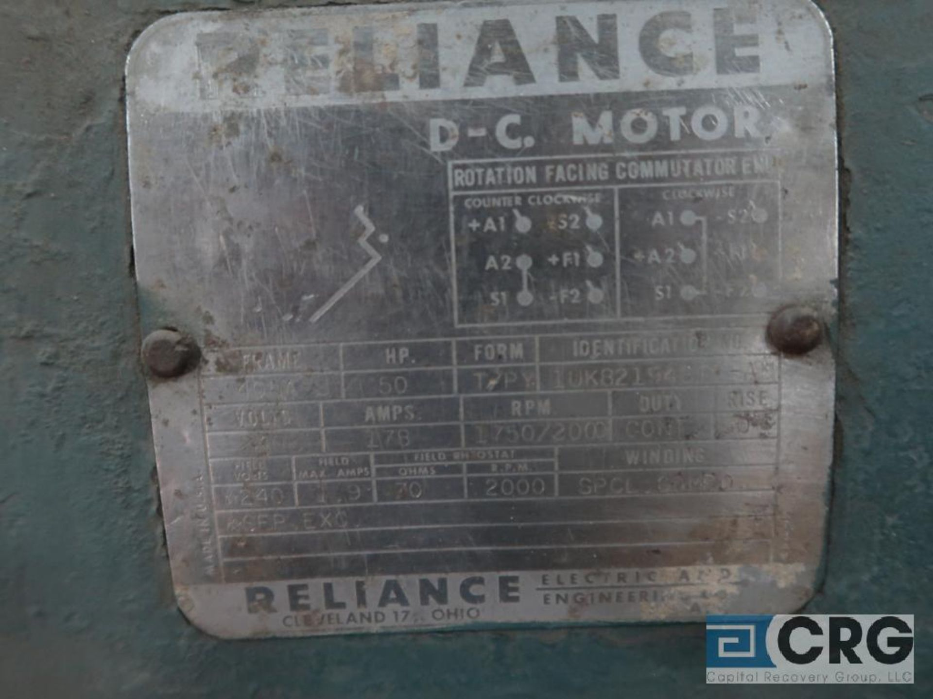 Reliance D-C motor, 50 HP, 1,750/2,000 RPMs, 240 volt, 3 ph., 405A-S frame (Finish Building) - Image 2 of 2