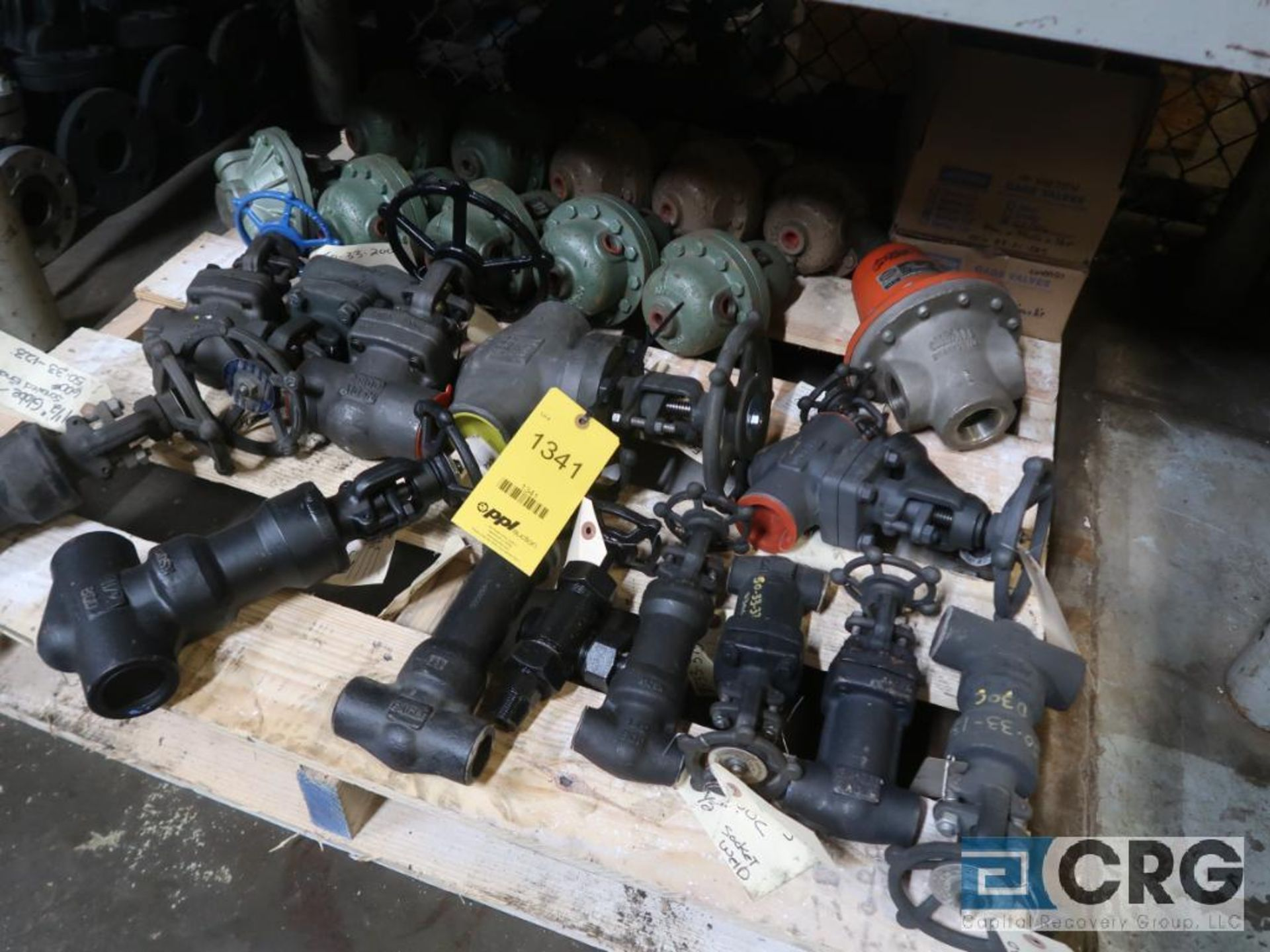 (1) pallet and (1) cart with assorted ball valves (Store Basement)