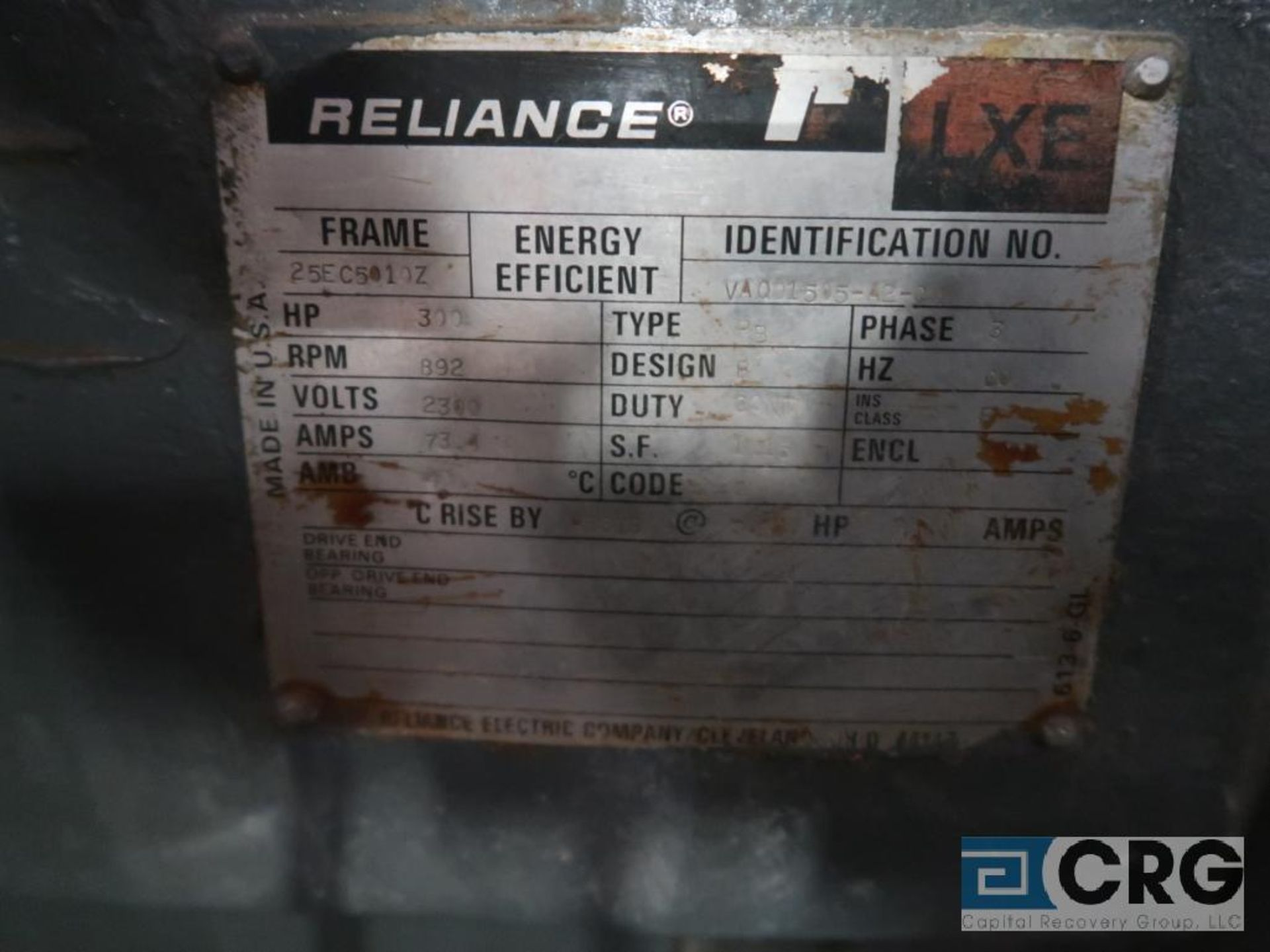 Reliance motor, 300 HP, 892 RPM, 2,300 volt, frame 255010Z, equipment #E00428 (496 Dock Area) - Image 2 of 2