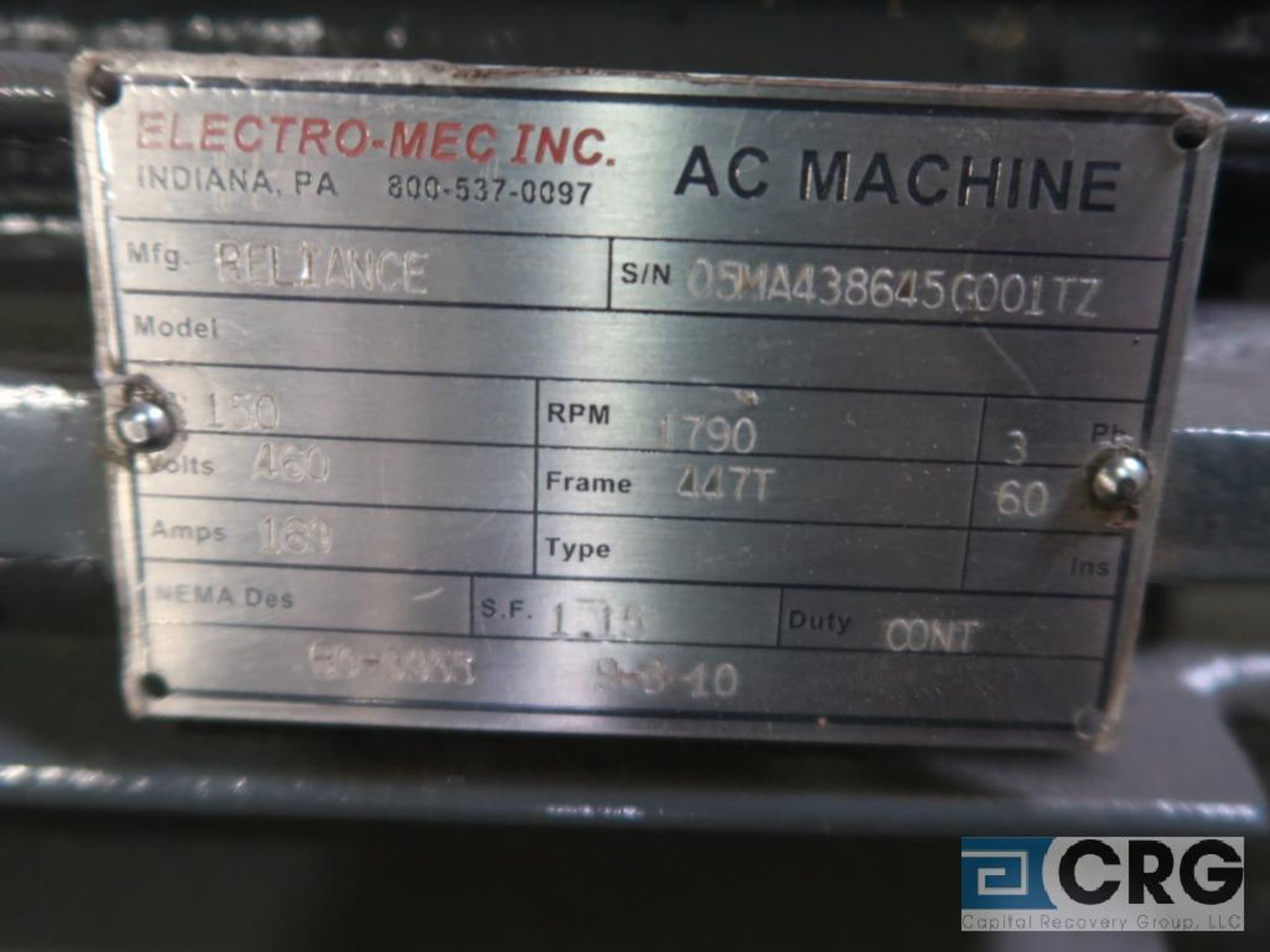 Reliance electric motor, 150 HP, 1,790 RPMs, 460 volt, 3 ph., 447T frame (Finish Building) - Image 2 of 2