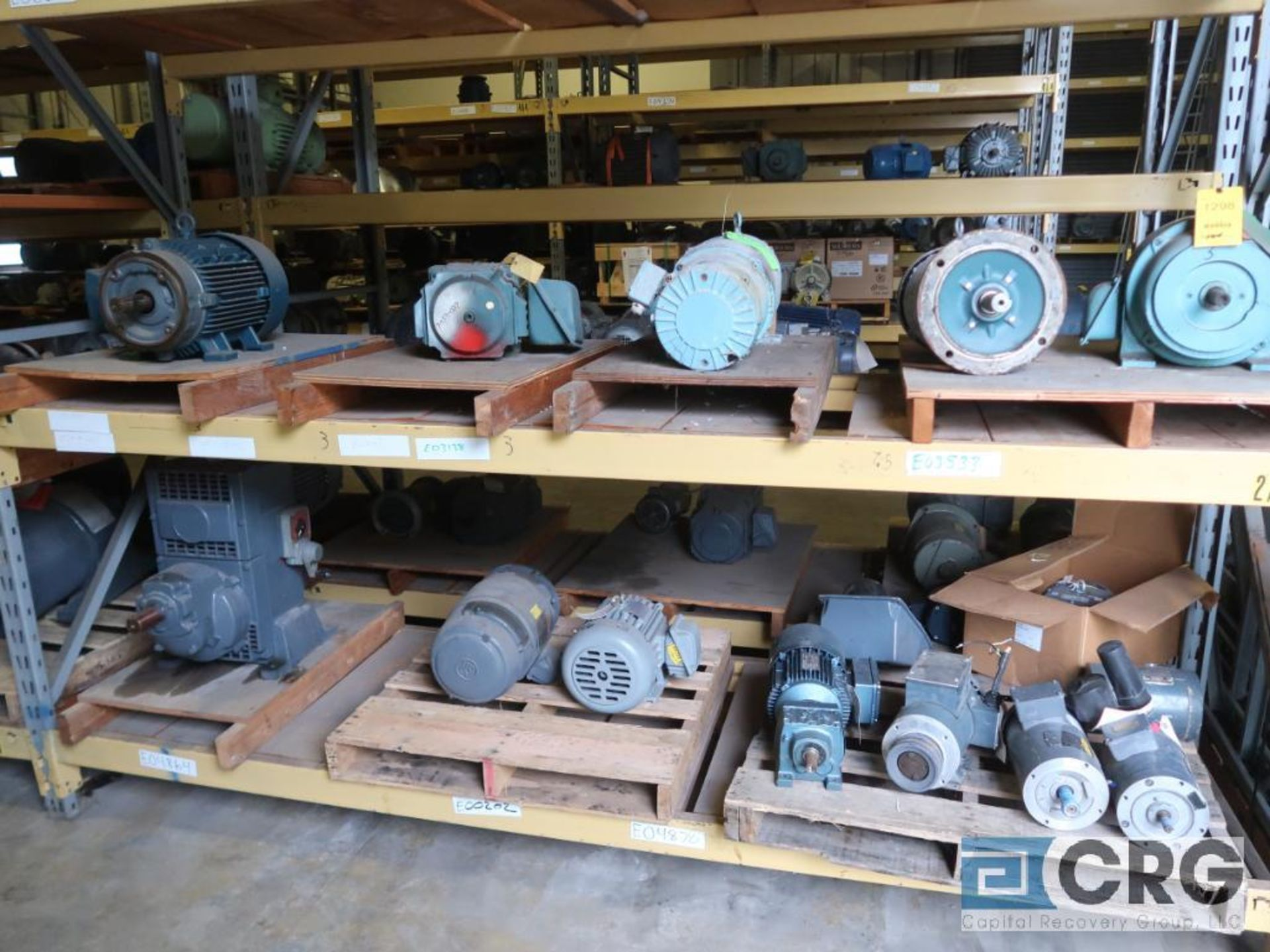 Lot of (38) assorted 5 HP and smaller motors on (6) shelves (Motor Building)