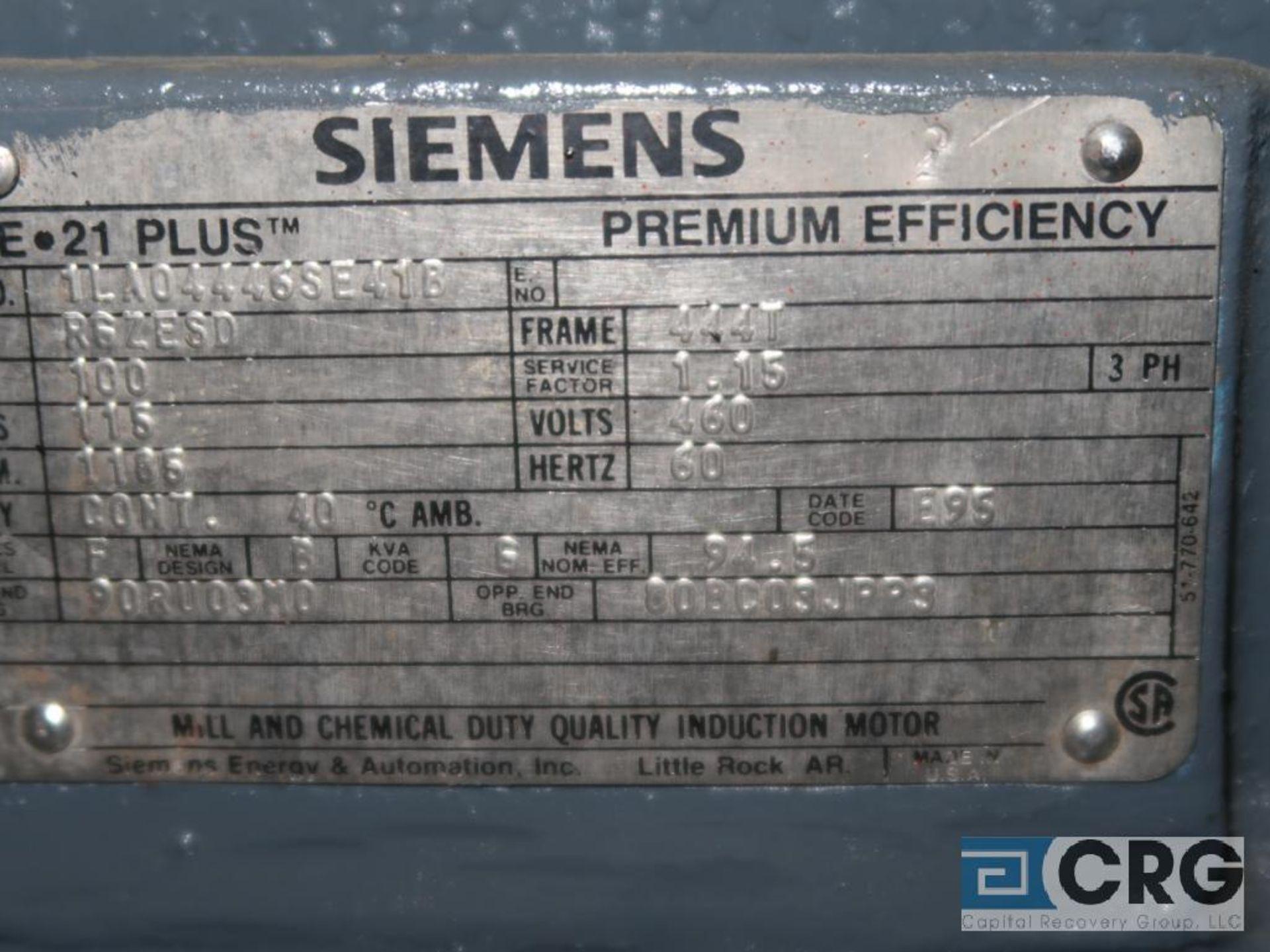 Siemens PE-21 PLUS motor, 100 HP, 1,185 RPMs, 460 volt, 3 ph., 444T frame (Finish Building) - Image 2 of 2
