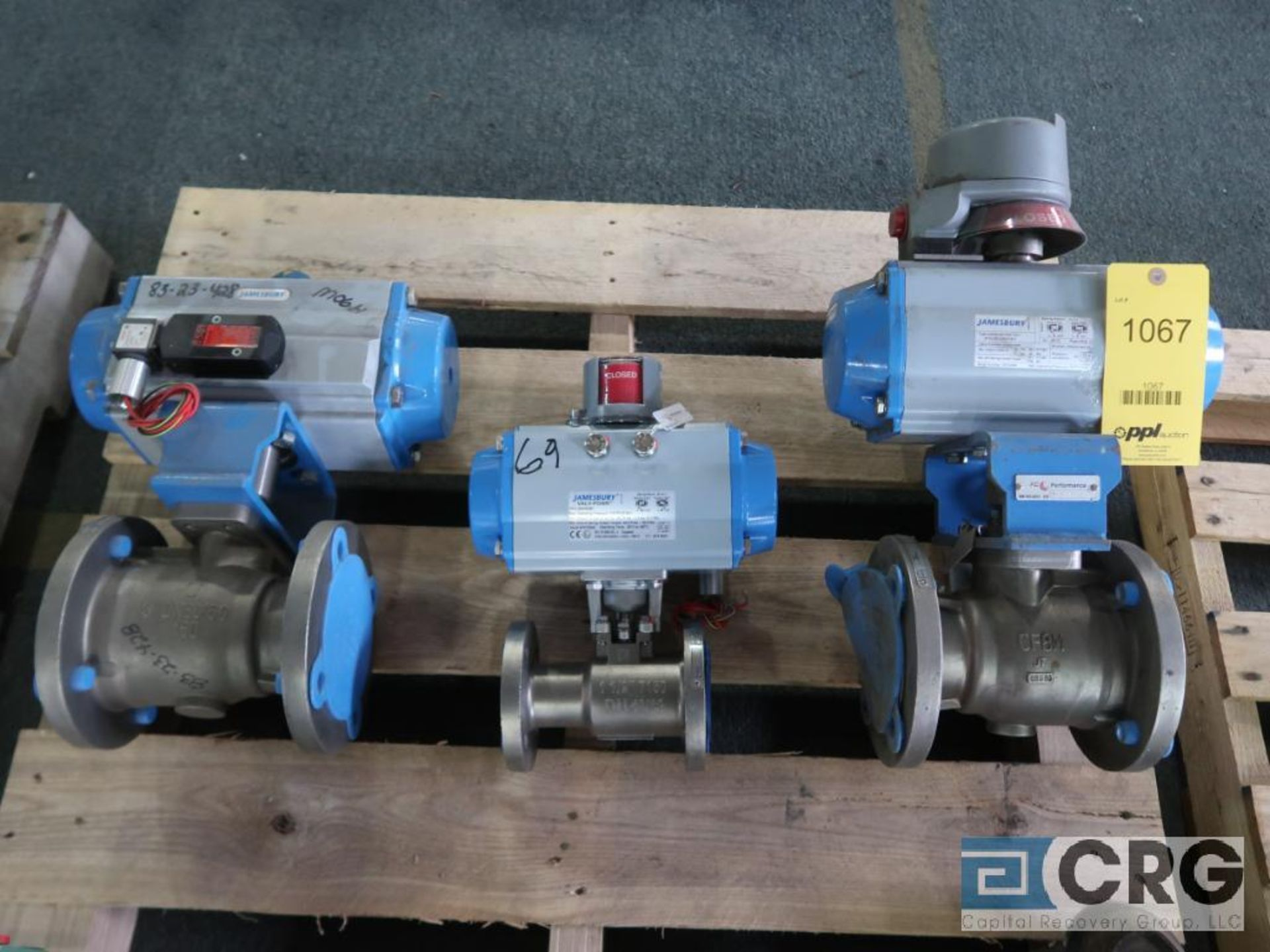 Lot of (3) Jamesbury stainless actuator valves, (2) 3 in., and (1) 1 1/2 in. (Finish Building)