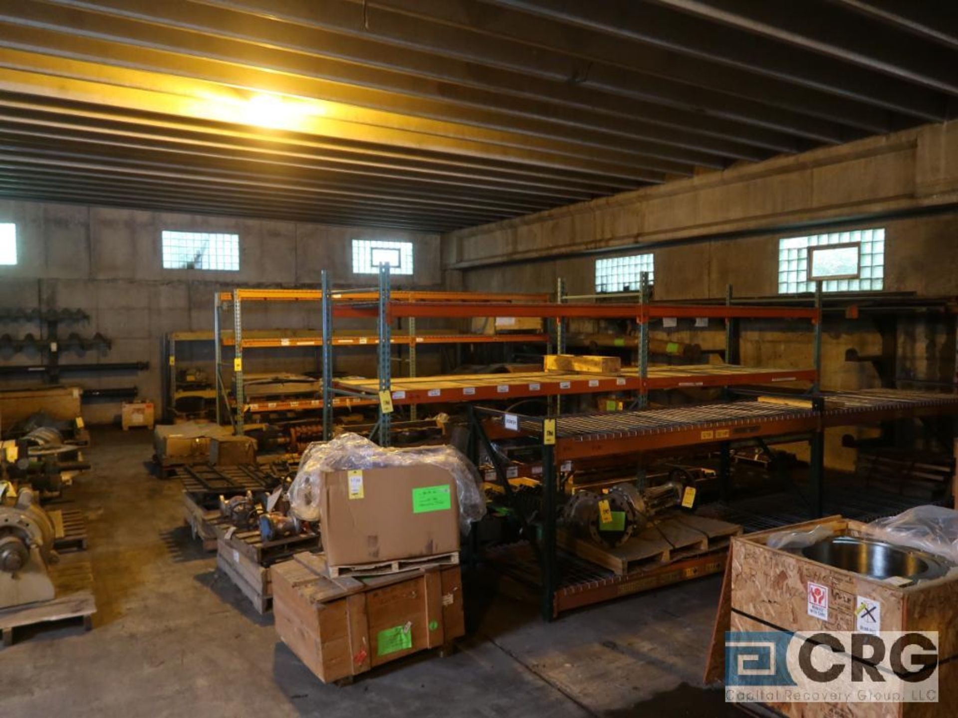 Lot of (24) sections pallet rack including (5) 8 ft. x 48 in. W, (24) 8 ft. cross bars, (4) 8 ft.