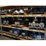 Lot of (49) assorted 5 HP and smaller motors on (6) shelves (Motor Building)