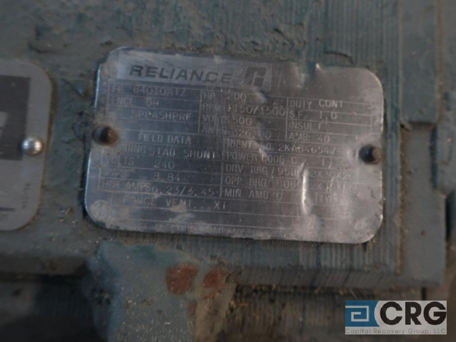 Reliance electric motor, DC, 200 HP, 1,150/1,500 RPMs, 500 volt, B4010ATZ frame (Finish Building) - Image 2 of 2