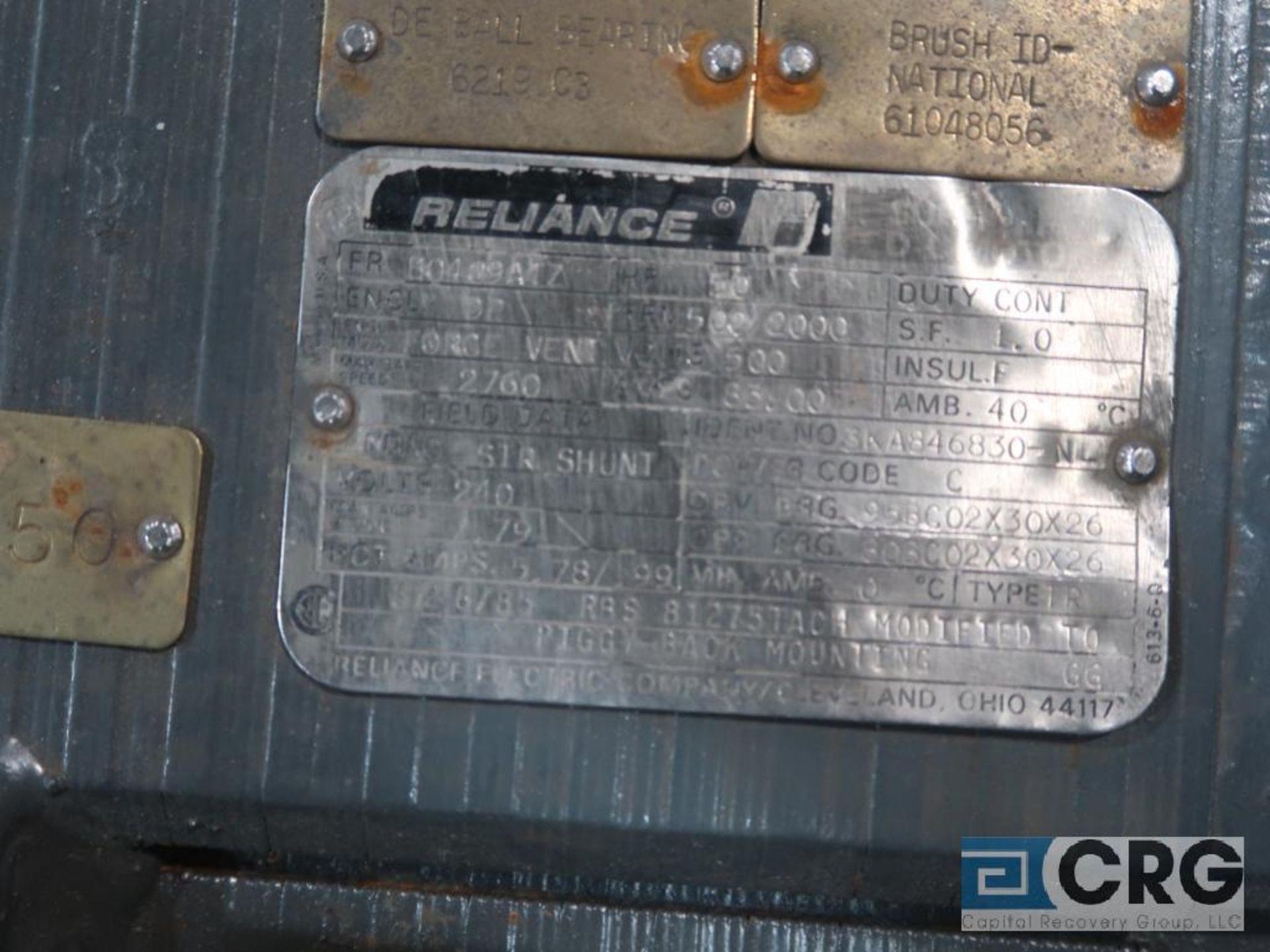 Reliance D-C motor, 50 HP, 500/2,000 RPMs, 500 volt, 3 ph., B0409ATZ frame (Finish Building) - Image 2 of 2