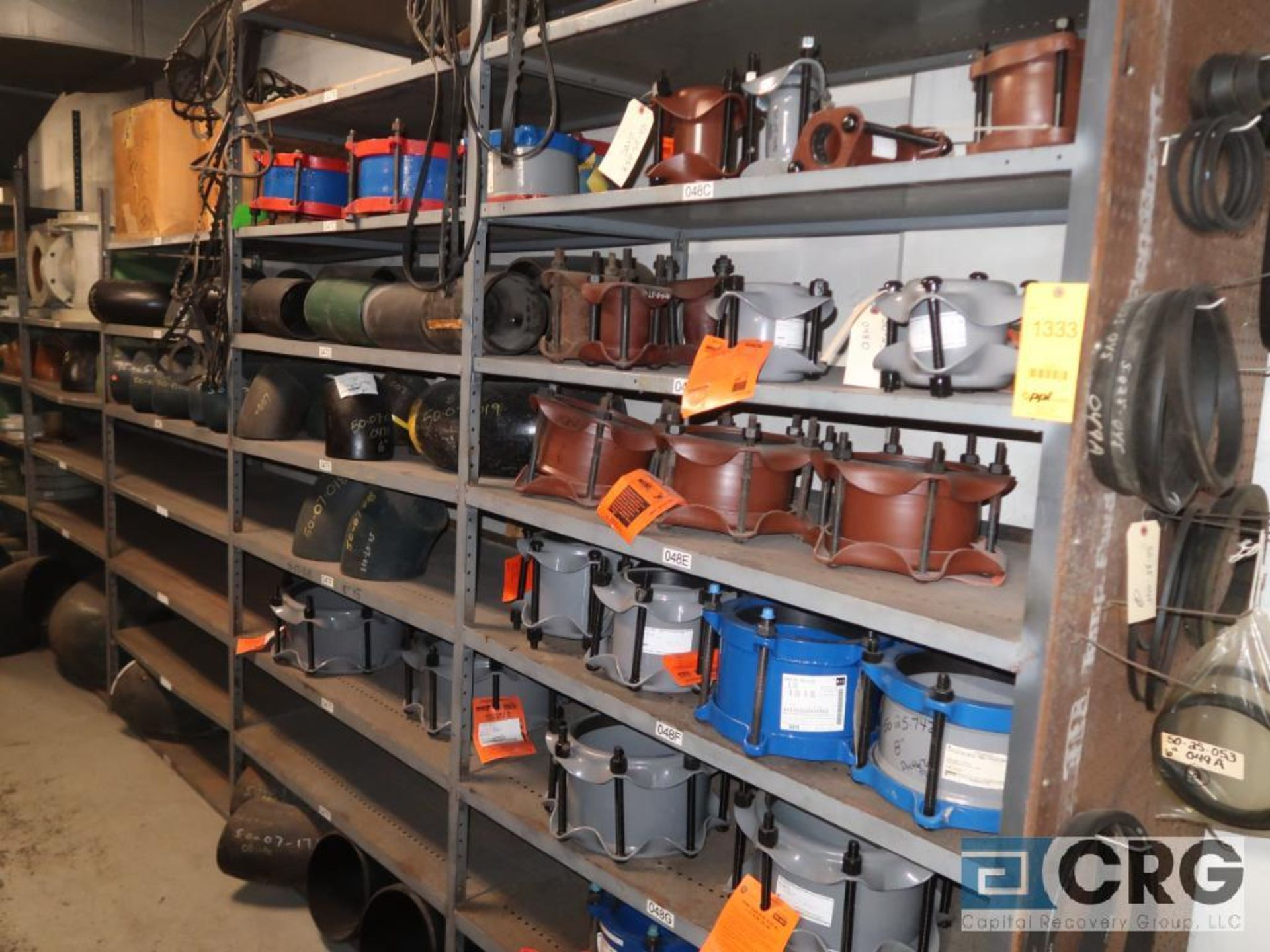 Lot of (15) sections with assorted parts including fiberglass pipes, fittings, steel fittings, tee'