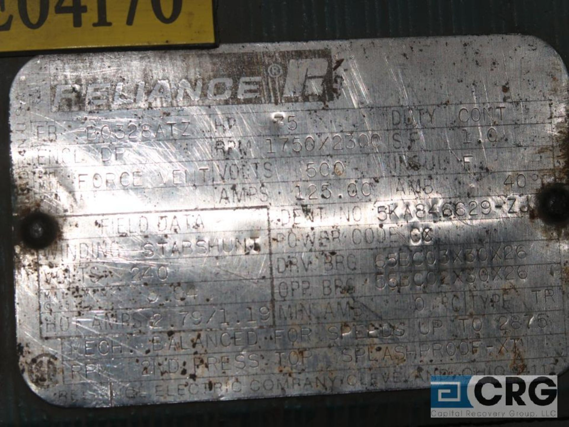 Reliance electric DC motor, 75 HP, 1,750/2,300 RPMs, 240 volt, 3 ph., B0328ATZ frame (Finish - Image 2 of 2
