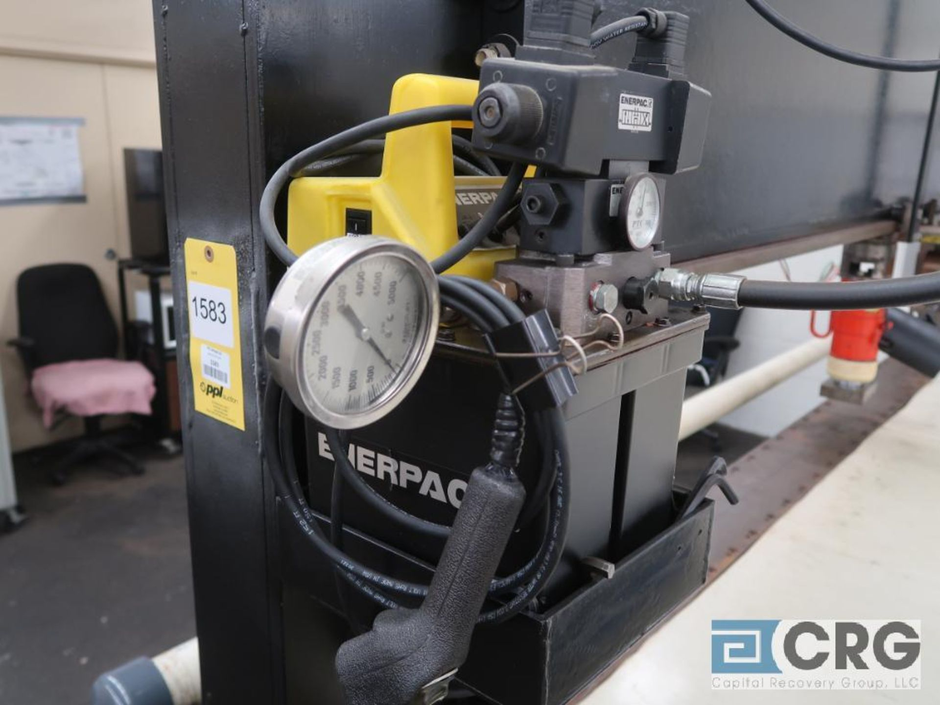 """10"""" Hydraulic Embossing Press, 55 Ton Enerpac pump & cylinder, (press is vertical & adjustable), - Image 2 of 5"""
