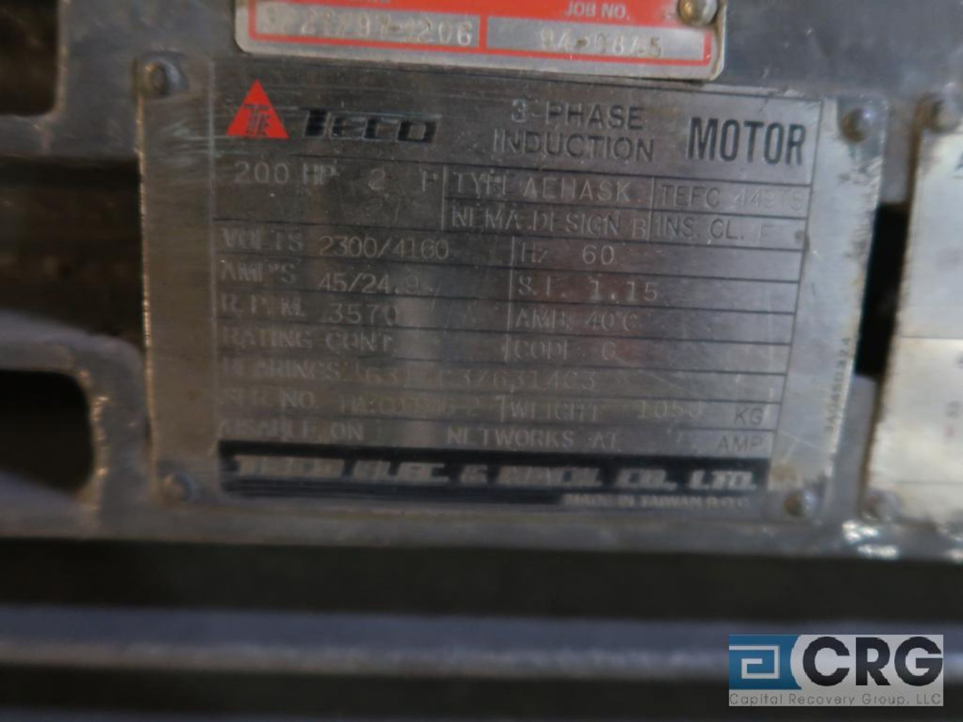 Teco Electric induction motor, 200 HP, 3,570 RPMs, 2,300/4,160 volt, 3 ph., 449TS frame (Finish - Image 2 of 2