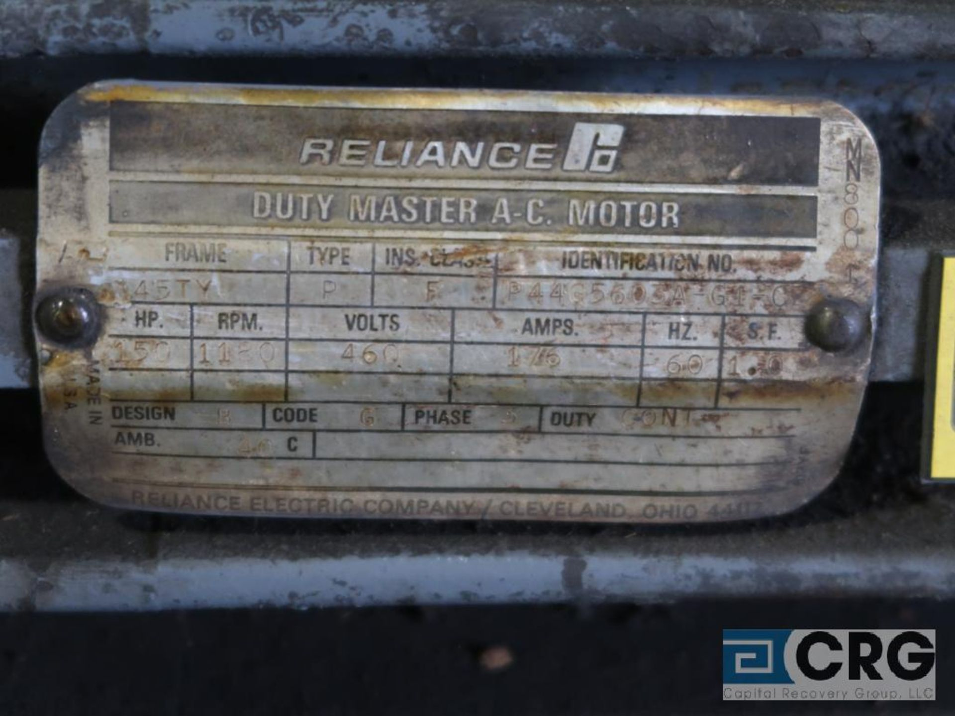 Reliance Duty Master A-C motor, 150 HP, 1,180 RPMs, 460 volt, 3 ph., 445TY frame (Finish Building) - Image 2 of 2