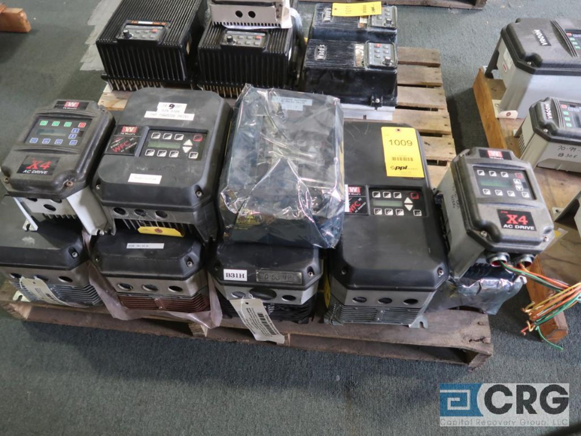 Lot of (9) TB Woods variable frequency drives, (4) 20 HP, (4) 1 HP, and (1) 1/2 HP (Finish