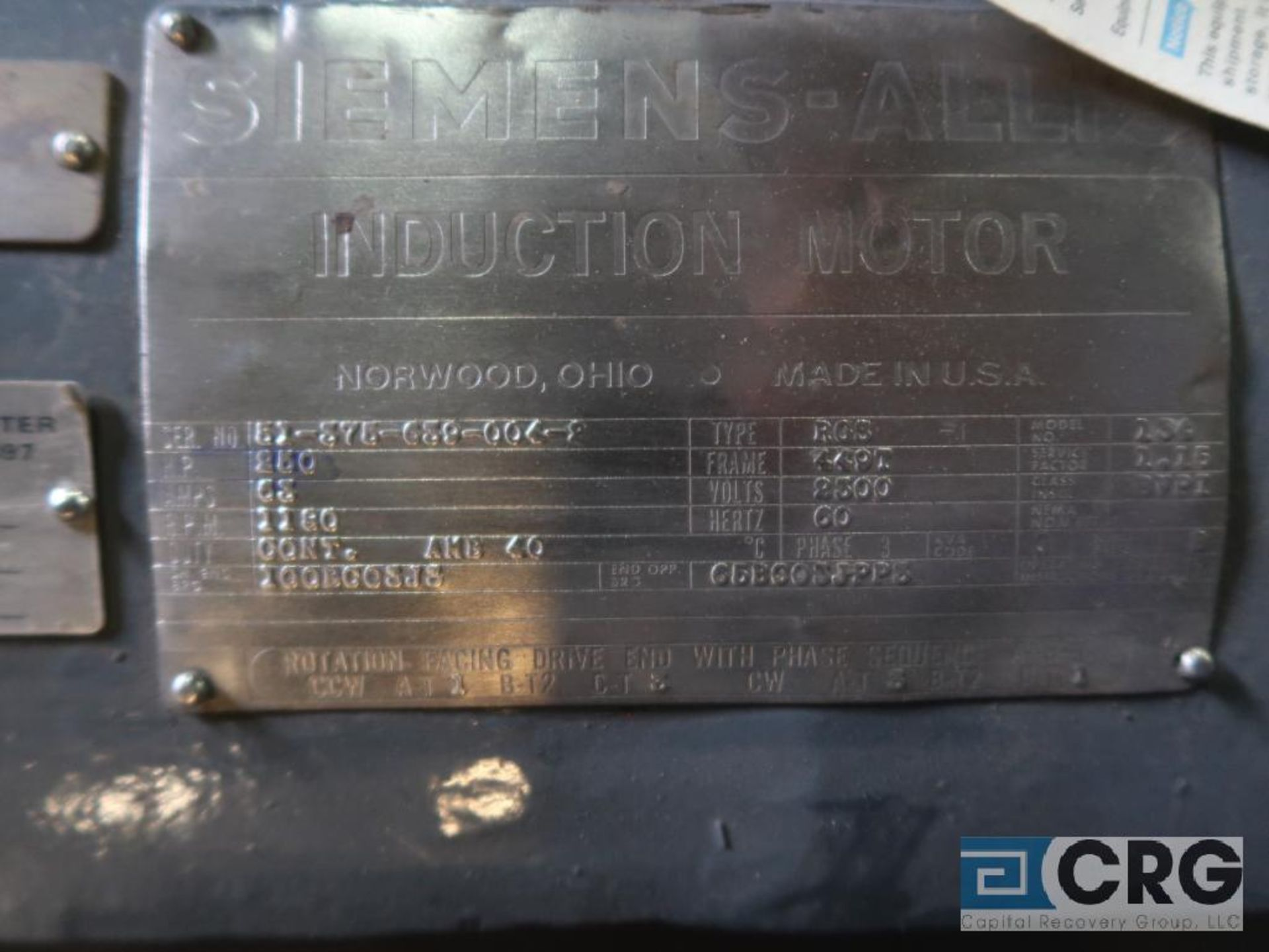 Siemens-Allis induction motor, 250 HP, 1,180 RPMs, 2,300 volt, 3 ph., 449T frame (Finish Building) - Image 2 of 2