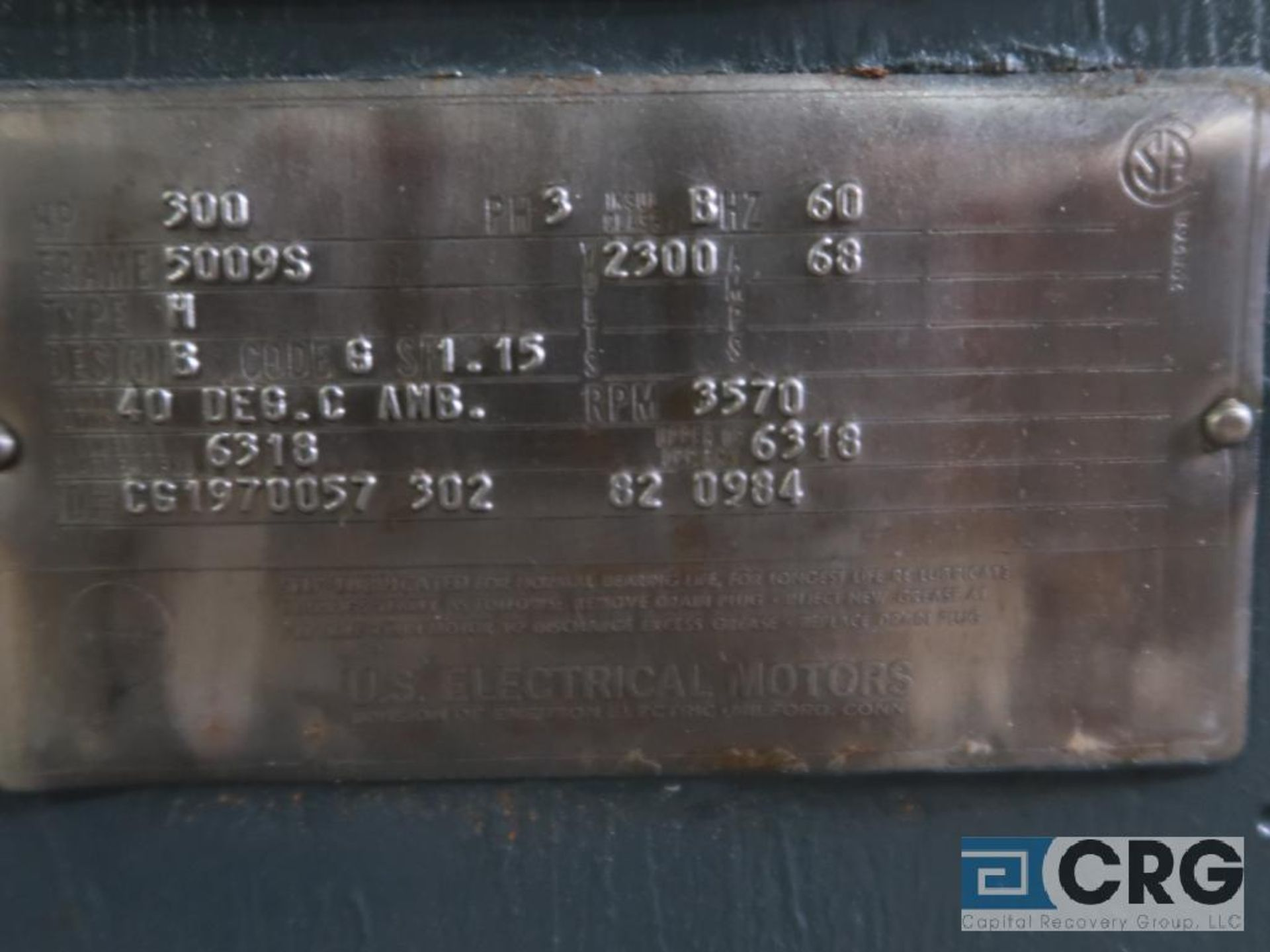 U.S. Electrical electric motor, 300 HP, 3,570 RPMs, 2,300 volt, 3 ph., 5009S frame (Finish - Image 2 of 2