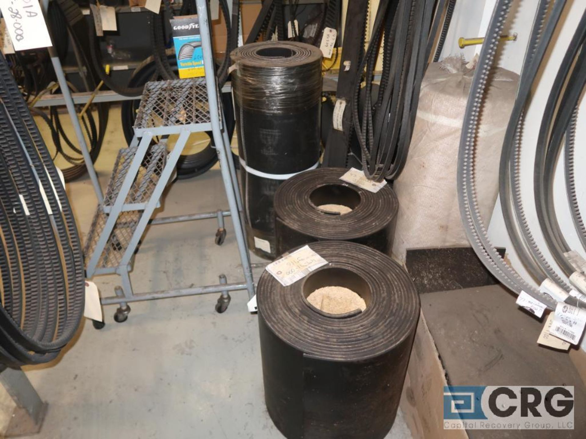 Lot of assorted V-belts hanging, and (6) metal shelving sections-CONTENTS ONLY (Store Basement) - Image 5 of 10
