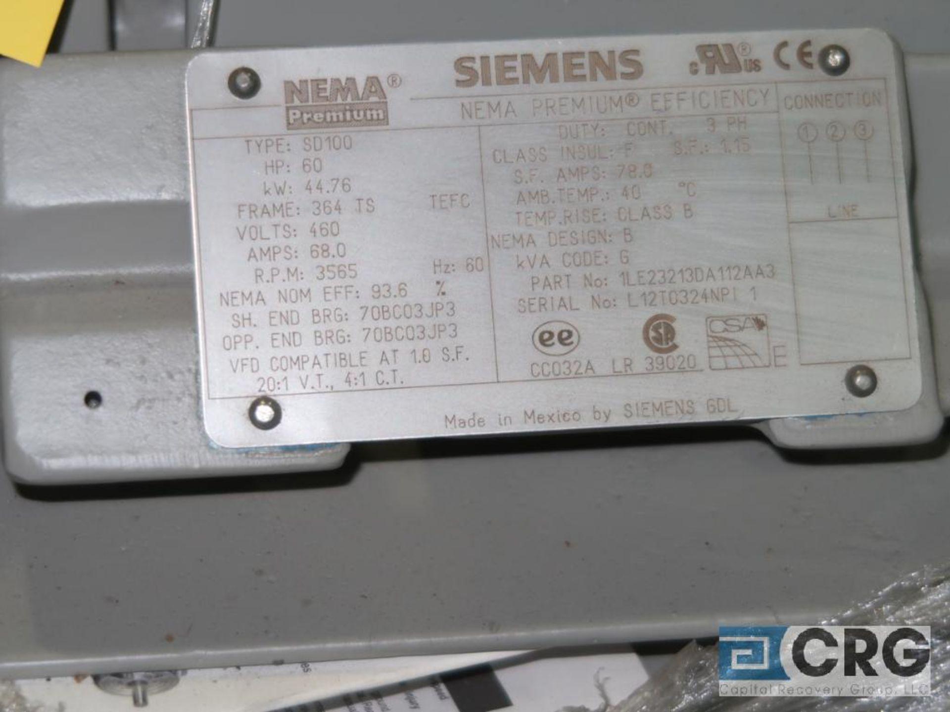 Siemens NEMA Premium Efficiency motor, 60 HP, 3,565 RPMs, 460 volt, 3 ph., 364TS frame (Finish - Image 2 of 2