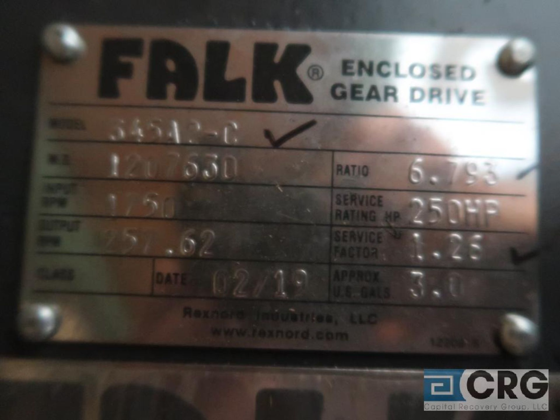 Falk 345 A 2C gear drive, ratio-6.793, input RPM 1,750, output RPM 257.62, service rate HP. 250, s/n - Image 2 of 2