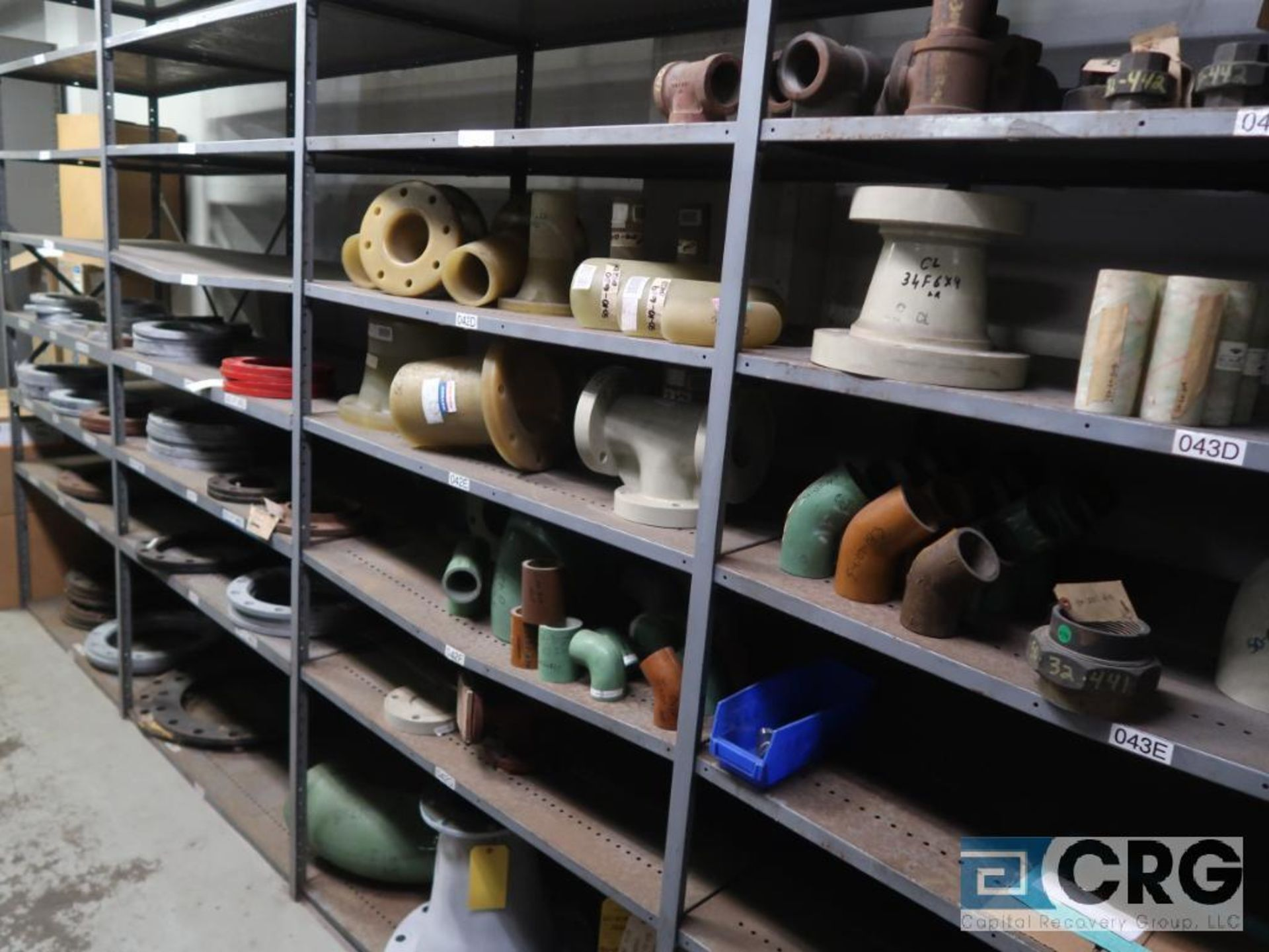 Lot of (15) sections with assorted parts including fiberglass pipes, fittings, steel fittings, tee' - Image 5 of 11