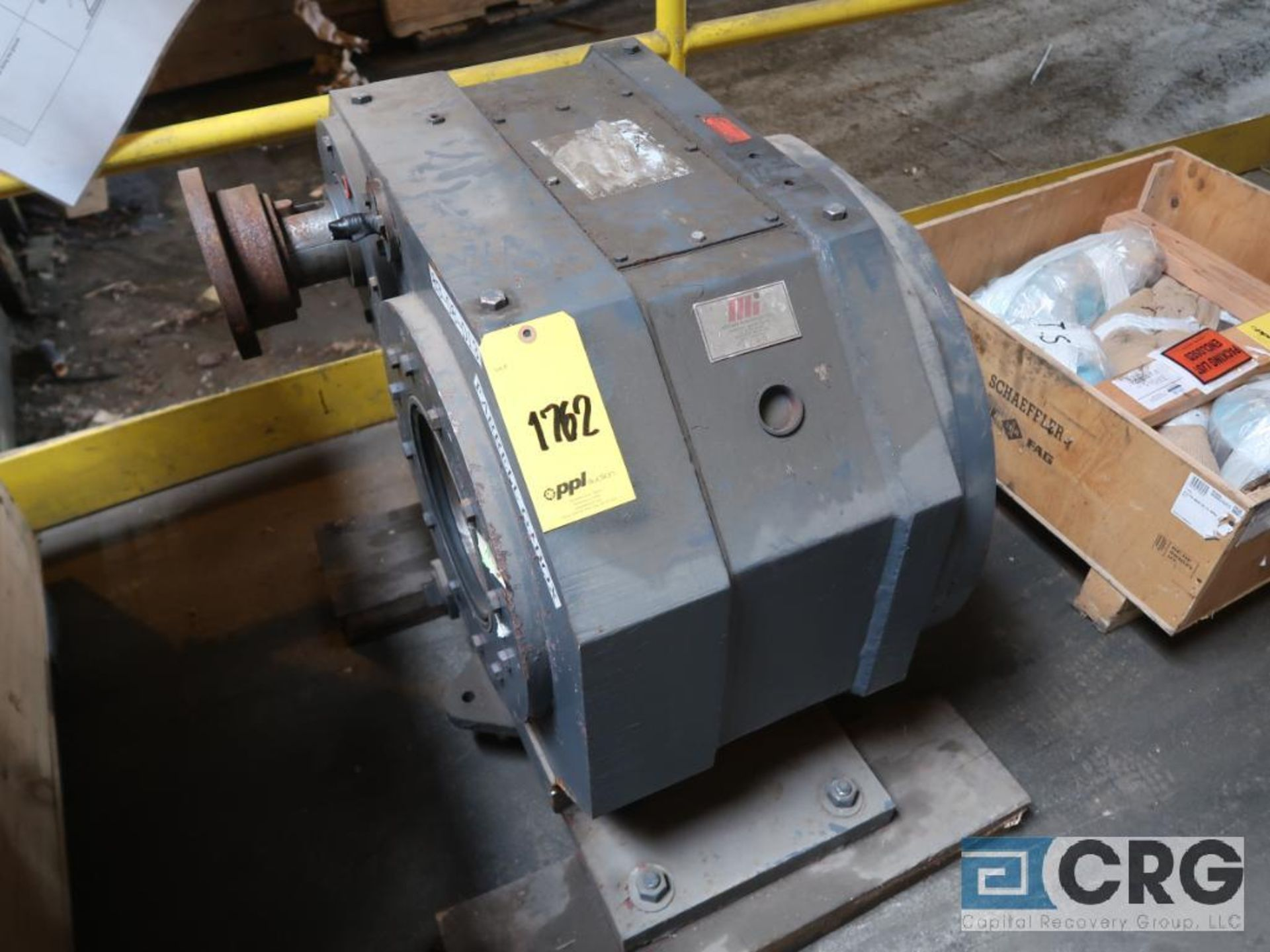 Lot of assorted motor, gear bearing housing, gear drive on metal rack (Next Bay Cage Area) - Image 16 of 16