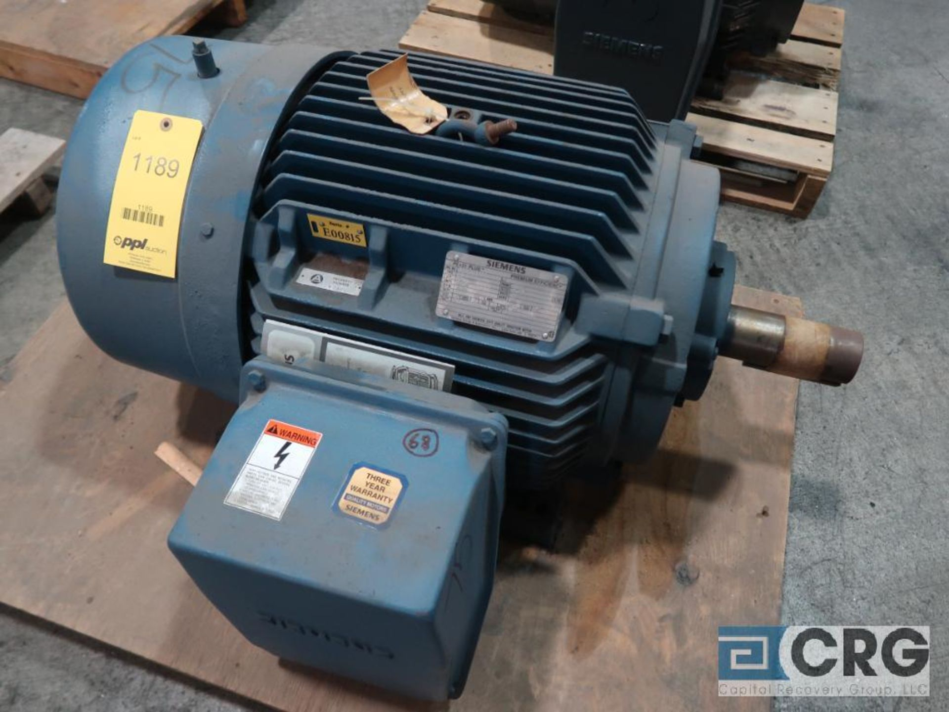 Siemens PE-21 PLUS motor, 75 HP, 3,545 RPMs, 460 volt, 3 ph., 356T frame (Finish Building)