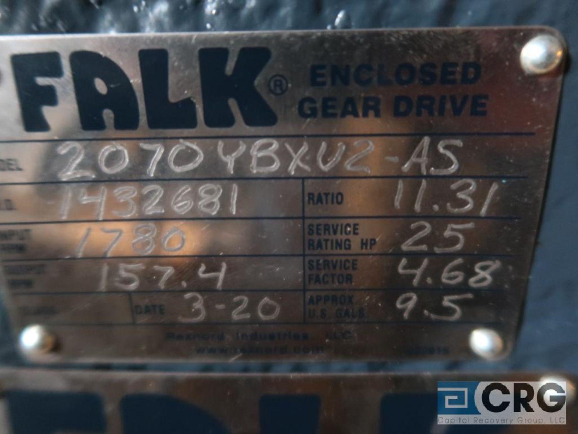 Falk 2070 YBXU2AS gear drive, ratio-11.31, input RPM 1,780, output RPM 157.4, service rate HP. 25, - Image 2 of 2