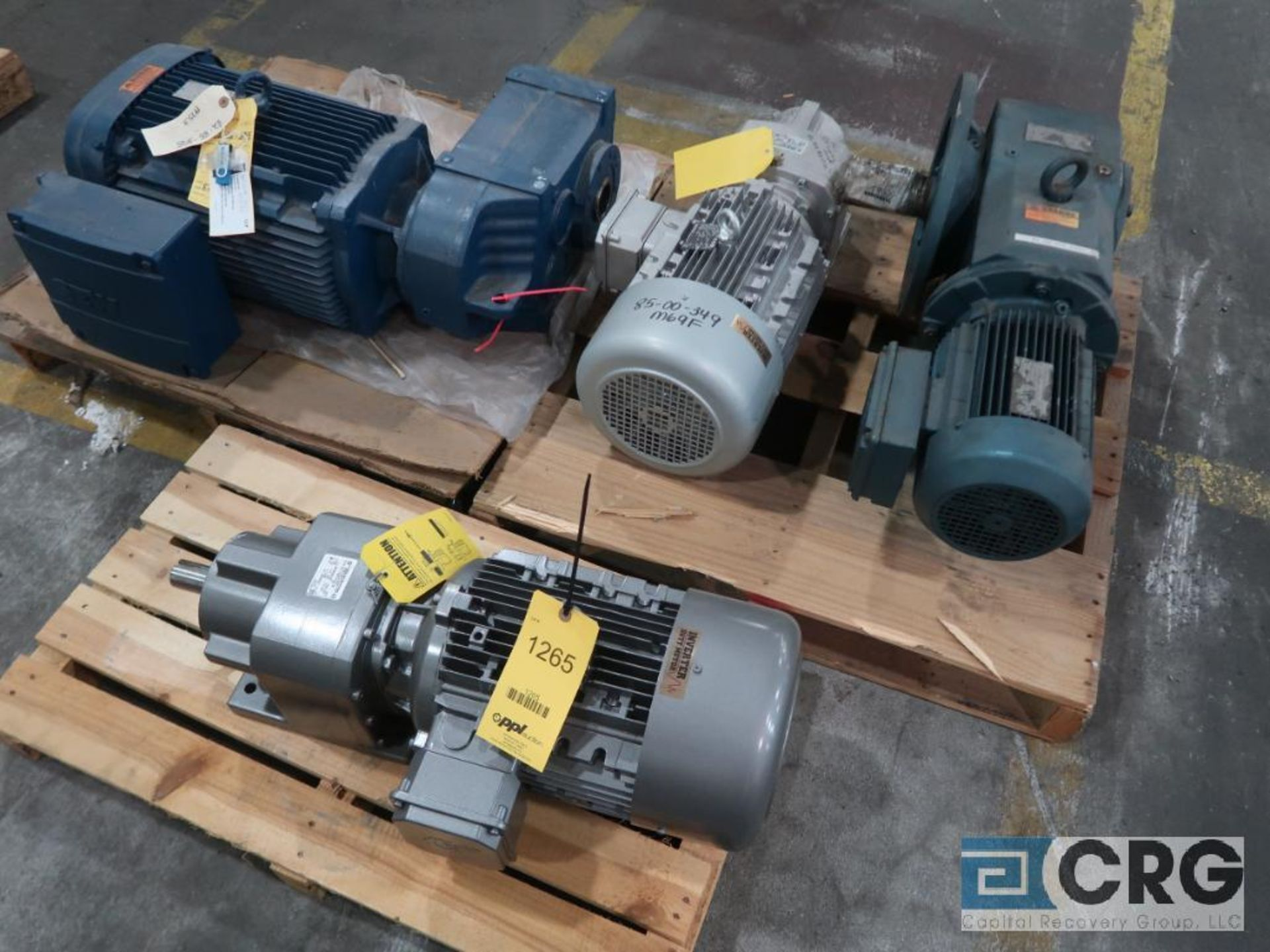 Lot of (4) gear drives with motors, various HPs (Finish Building)