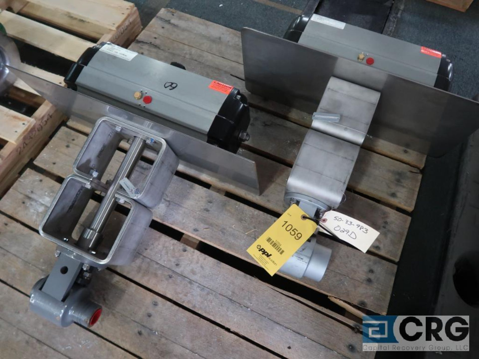Lot of (2) Flow Serve stainless actuator valves, (1) 2 in., and (1) 1 1/2 in. (Finish Building)