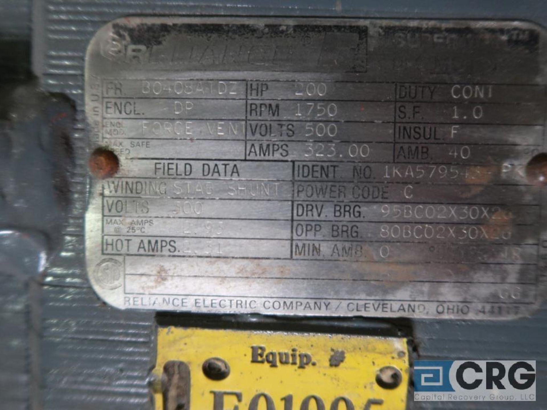 Reliance Super RPM DC motor, 200 HP, 1,750 RPMs, 500 volt, B0408ATOZ frame (Finish Building) - Image 2 of 2