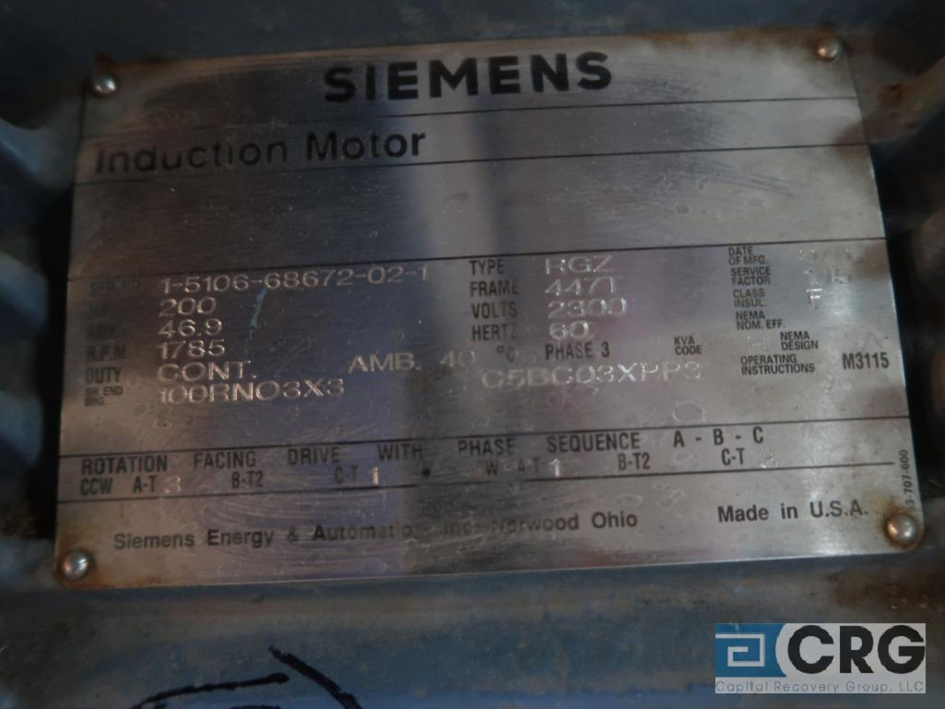 Siemens induction motor, 200 HP, 1,785 RPMs, 2,300 volt, 3 ph., 447T frame (Finish Building) - Image 2 of 2