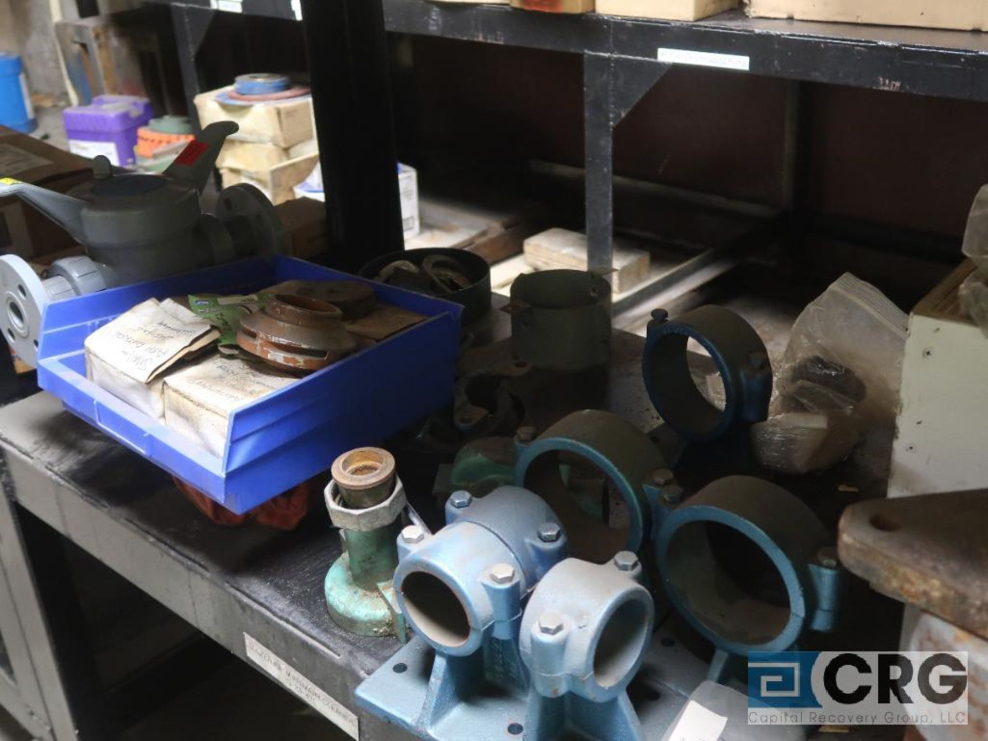 Lot of assorted parts on (4) sections and on wood shelving including motor, guards, housing, pump - Image 6 of 20