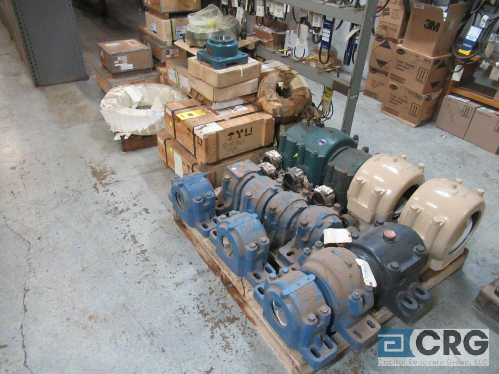 Lot of assorted large bearings and pillow blocks on (6) pallets (Basement Store)