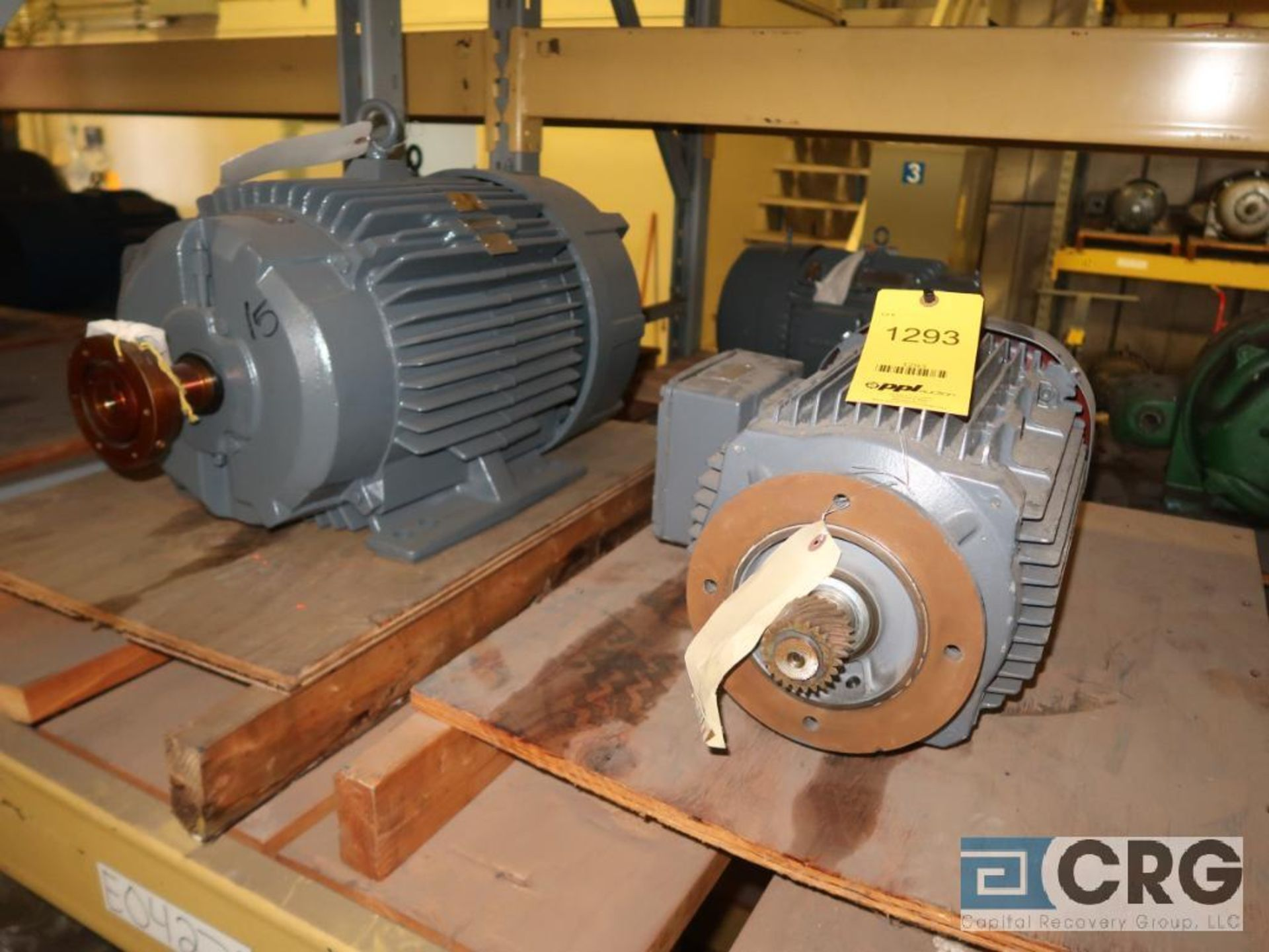 Lot of (29) assorted 15 HP, 10 HP, and 7.5 HP motors on (7) shelves, some with gear drives (Motor