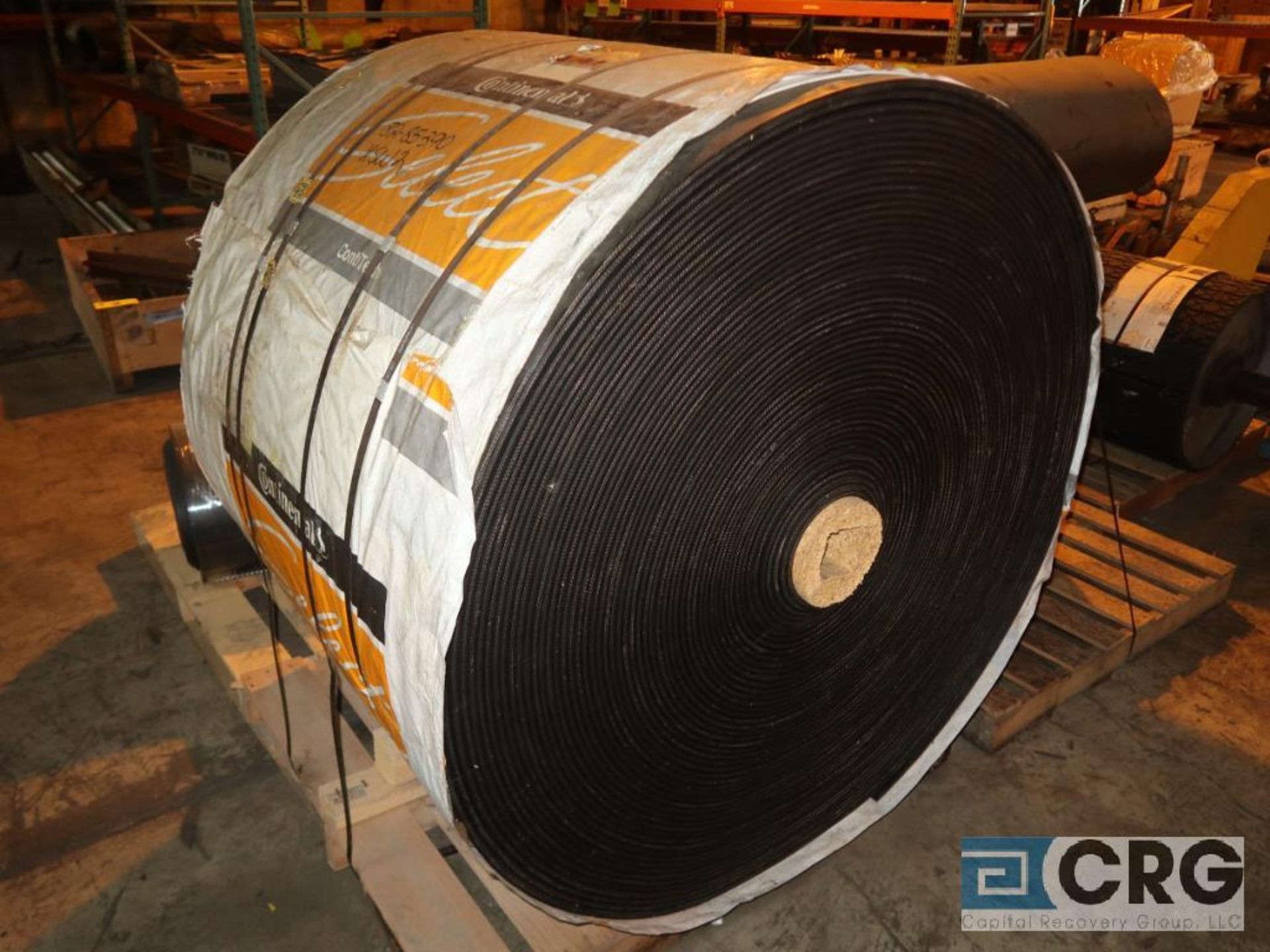 Lot of conveyor parts including belting, pulleys, and rollers (Next Bay Cage Area) - Image 2 of 5