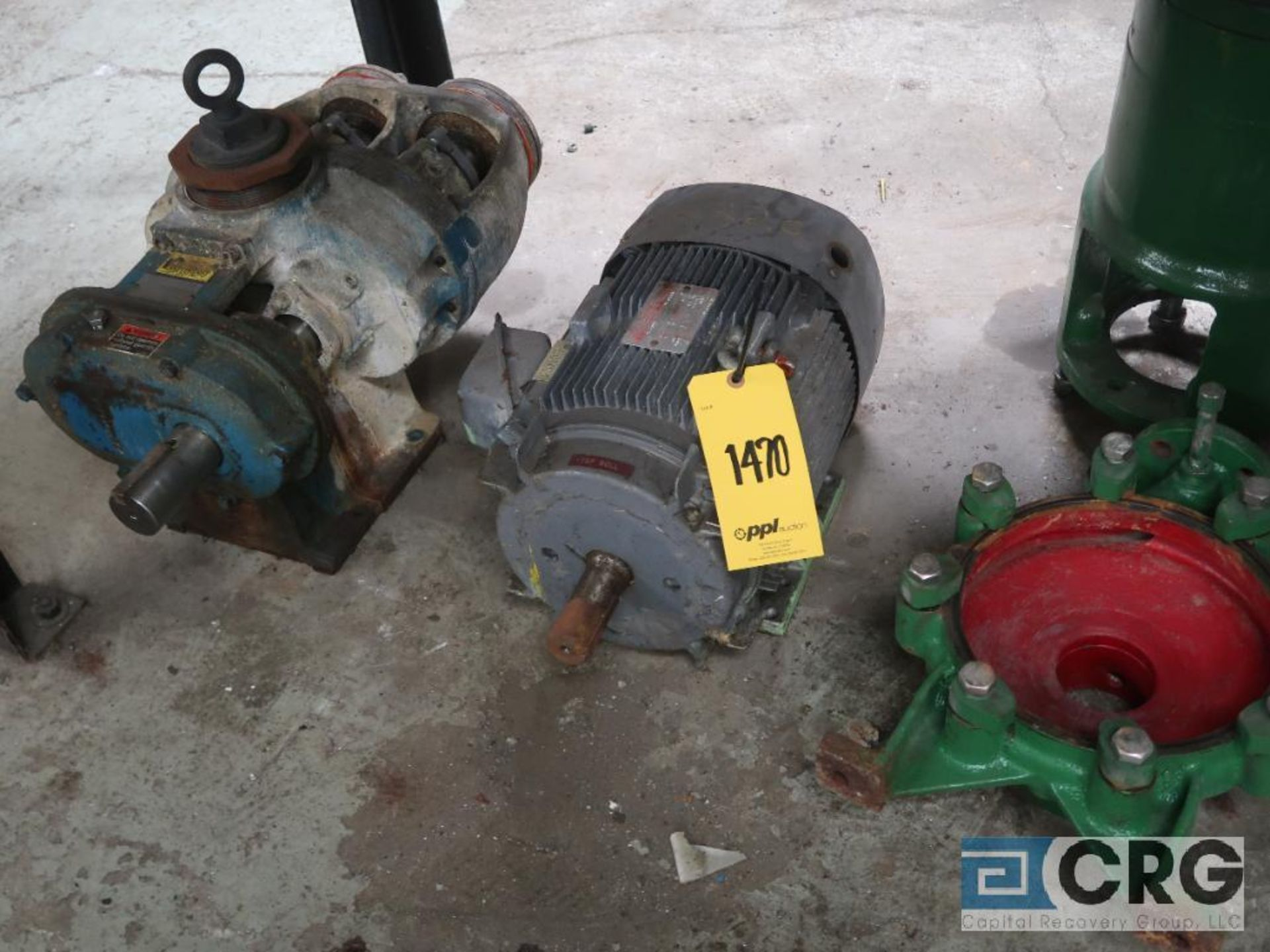 Lot of assorted parts on (4) sections and on wood shelving including motor, guards, housing, pump - Image 4 of 20