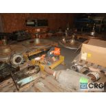 Lot of (31) pallets assorted parts including gears, bearing housing, motor, and dryer can covers (