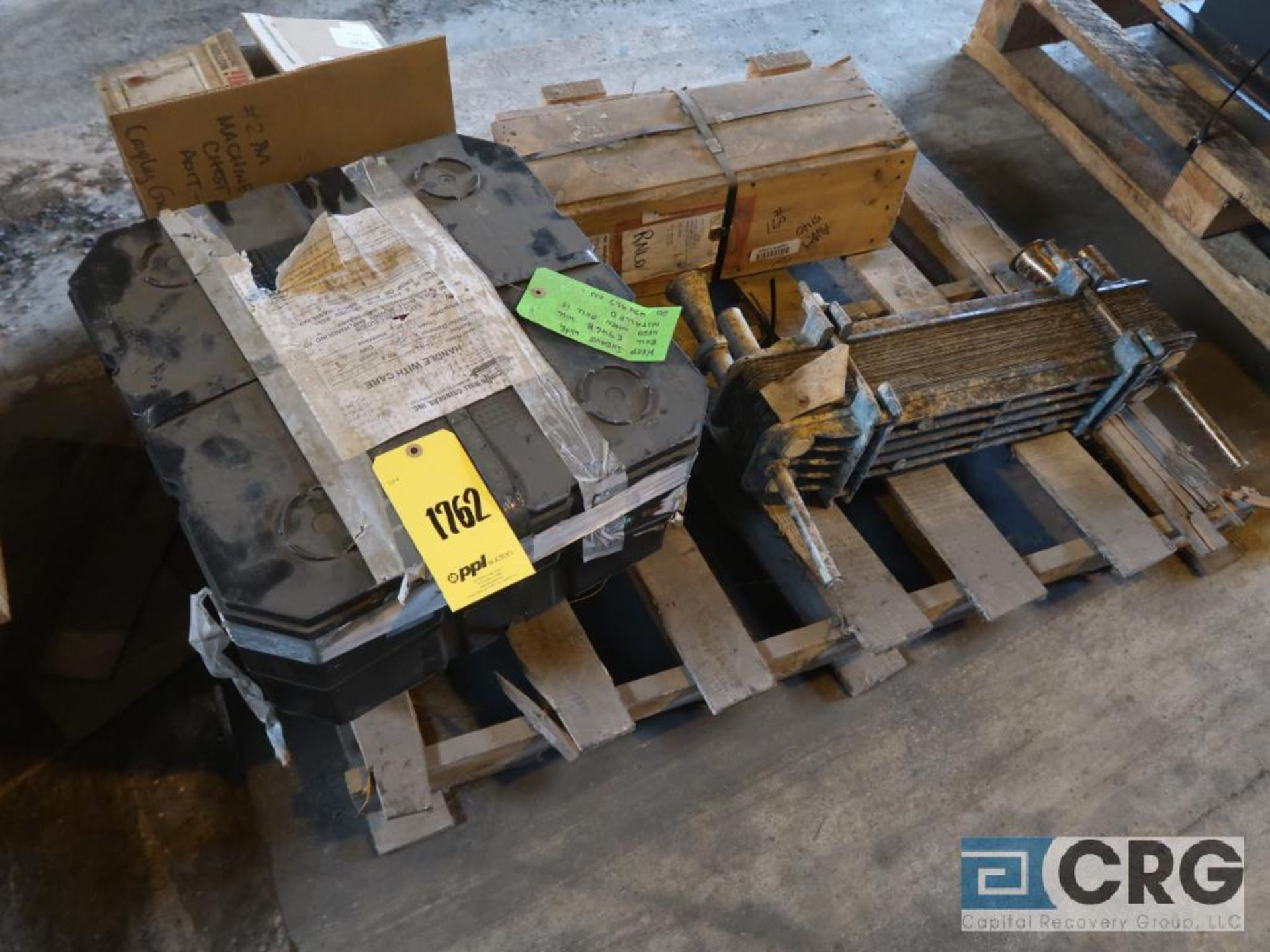 Lot of assorted motor, gear bearing housing, gear drive on metal rack (Next Bay Cage Area) - Image 12 of 16