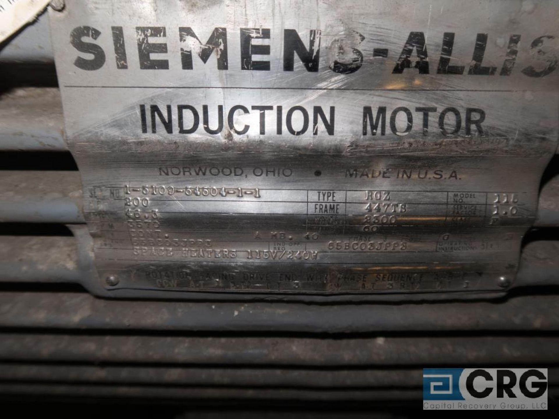 Siemens-Allis induction motor, 200 HP, 3,570 RPMs, 2,300 volt, 3 ph., 447TS frame (Finish Building) - Image 2 of 2