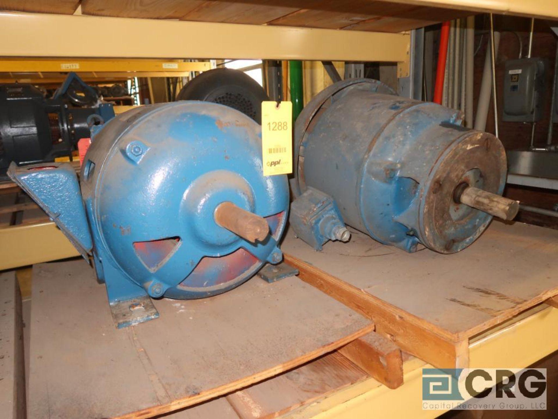 Lot of (5) assorted 25 HP motors on (2) shelves (Motor Building)