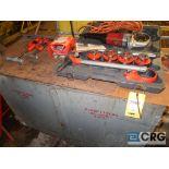 Lot of Ridgid threading tools including (1) model 600 electric handheld, (1) manual set, (4)