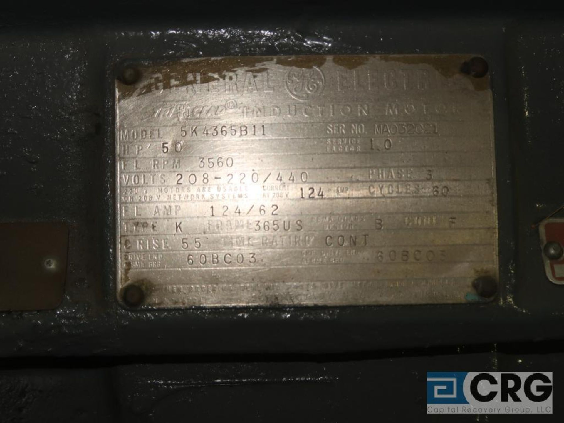 General Electric induction motor, 50 HP, 3,560 RPMs, 208-220/440 volt, 3 ph., 365US frame (Finish - Image 2 of 2