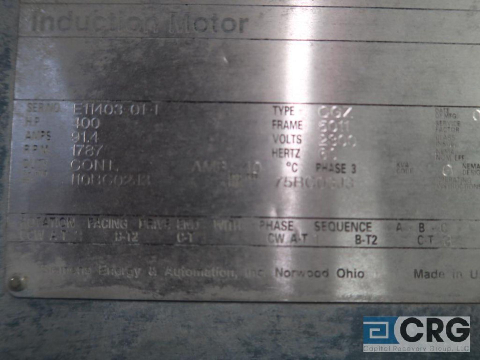Siemens motor, 400 HP, 1,787 RPM, 2,300 volt, frame 5011, year 1992, s/n E11403-01-1, equipment # - Image 2 of 2