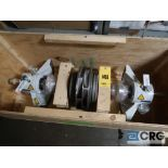 Lot of assorted Sulzer pump parts on (3) pallets and (1) crate including shaft assembly, face plate,