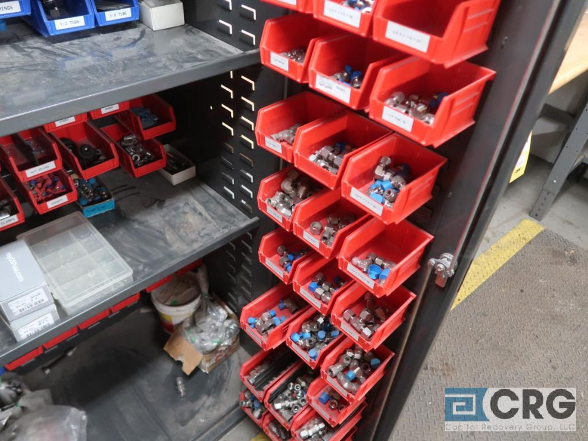 Metal 2 door cabinet with trays mounted inside-includes contents (Inside Shop-496 Dock Area) - Image 2 of 3