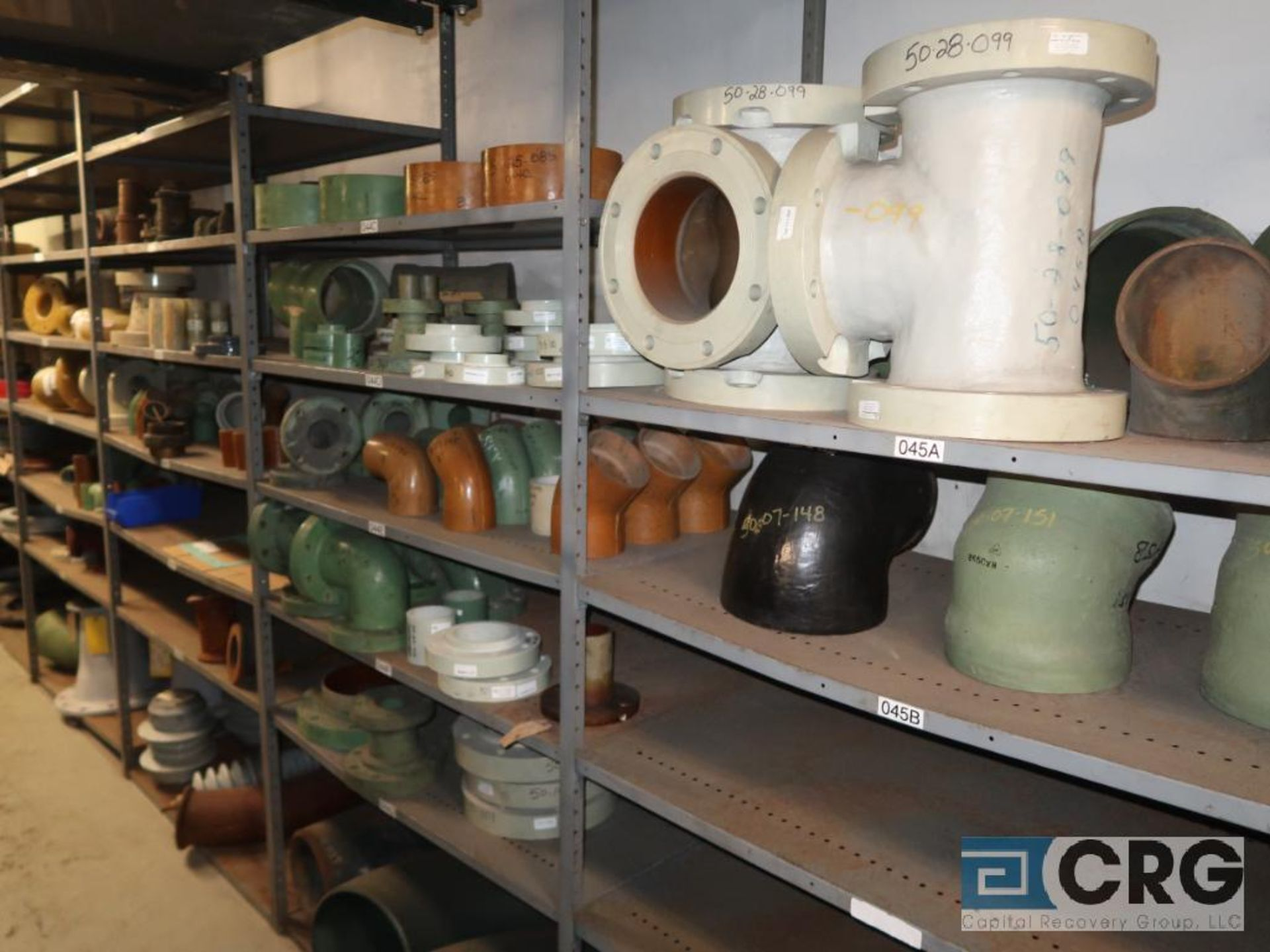 Lot of (15) sections with assorted parts including fiberglass pipes, fittings, steel fittings, tee' - Image 3 of 11