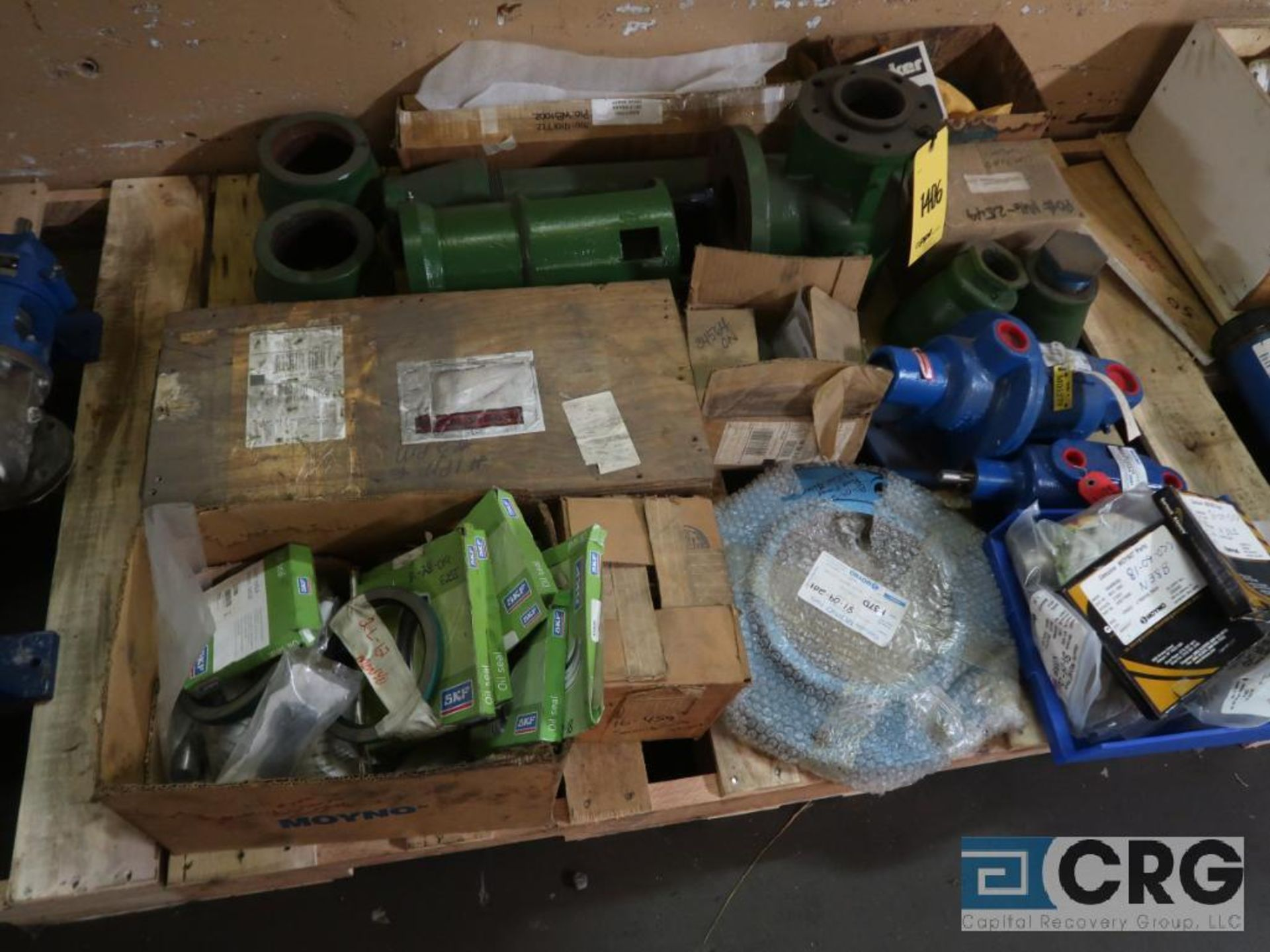 Lot of assorted Moyno pump parts on (4) pallets including gaskets, worm shafts, and seals ( - Image 2 of 4