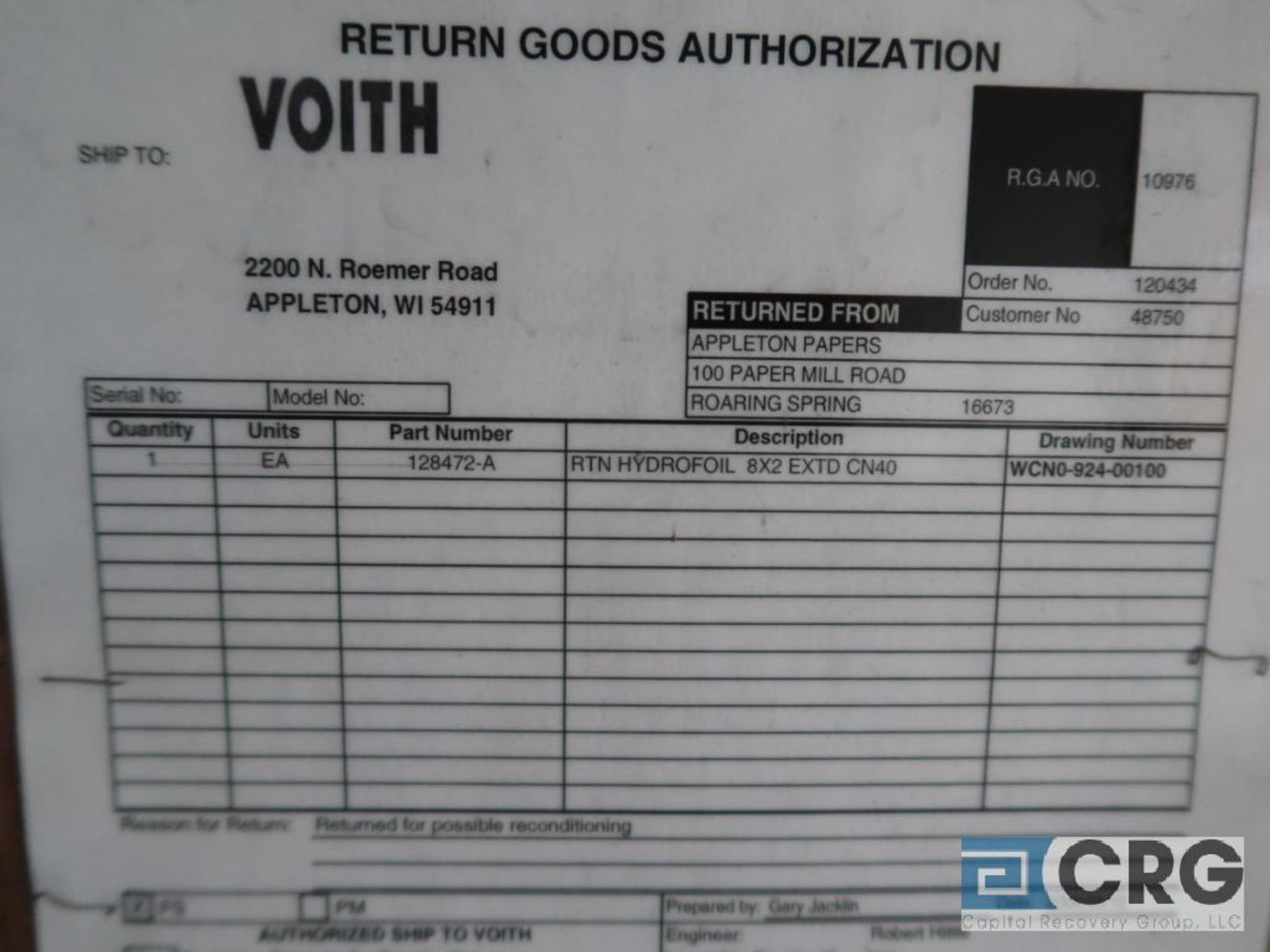 Voith ZCN419100020 GNF stainless rotor (Off Site Warehouse) - Image 2 of 2