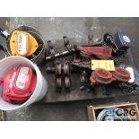 Lot of (4) chain hoists, chain, rail trolley, and clevis (Basement Stores)