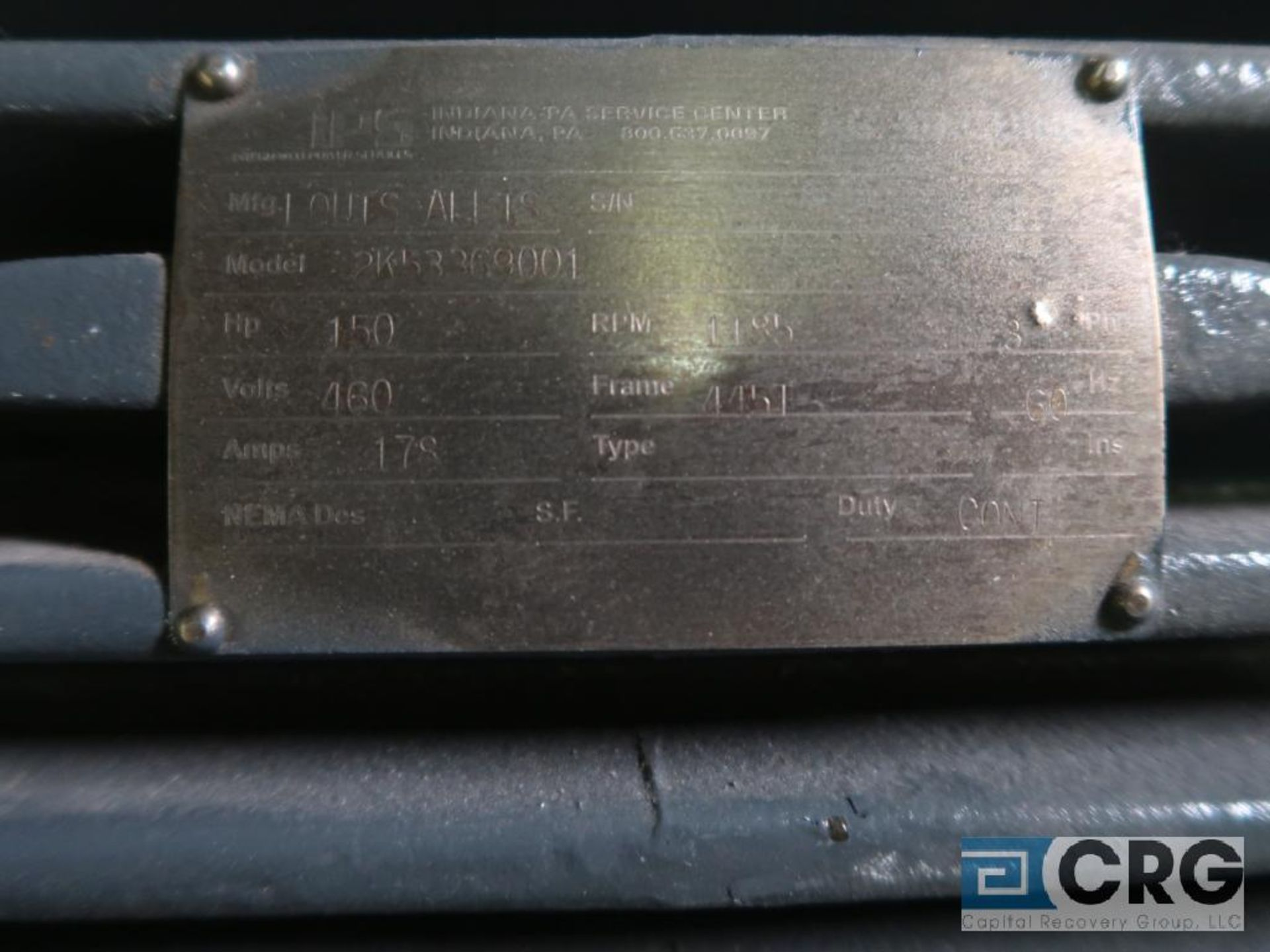 Louis-Allis electric DC motor, 150 HP, 1,185 RPMs, 460 volt, 3 ph., 445T frame (Finish Building) - Image 2 of 2