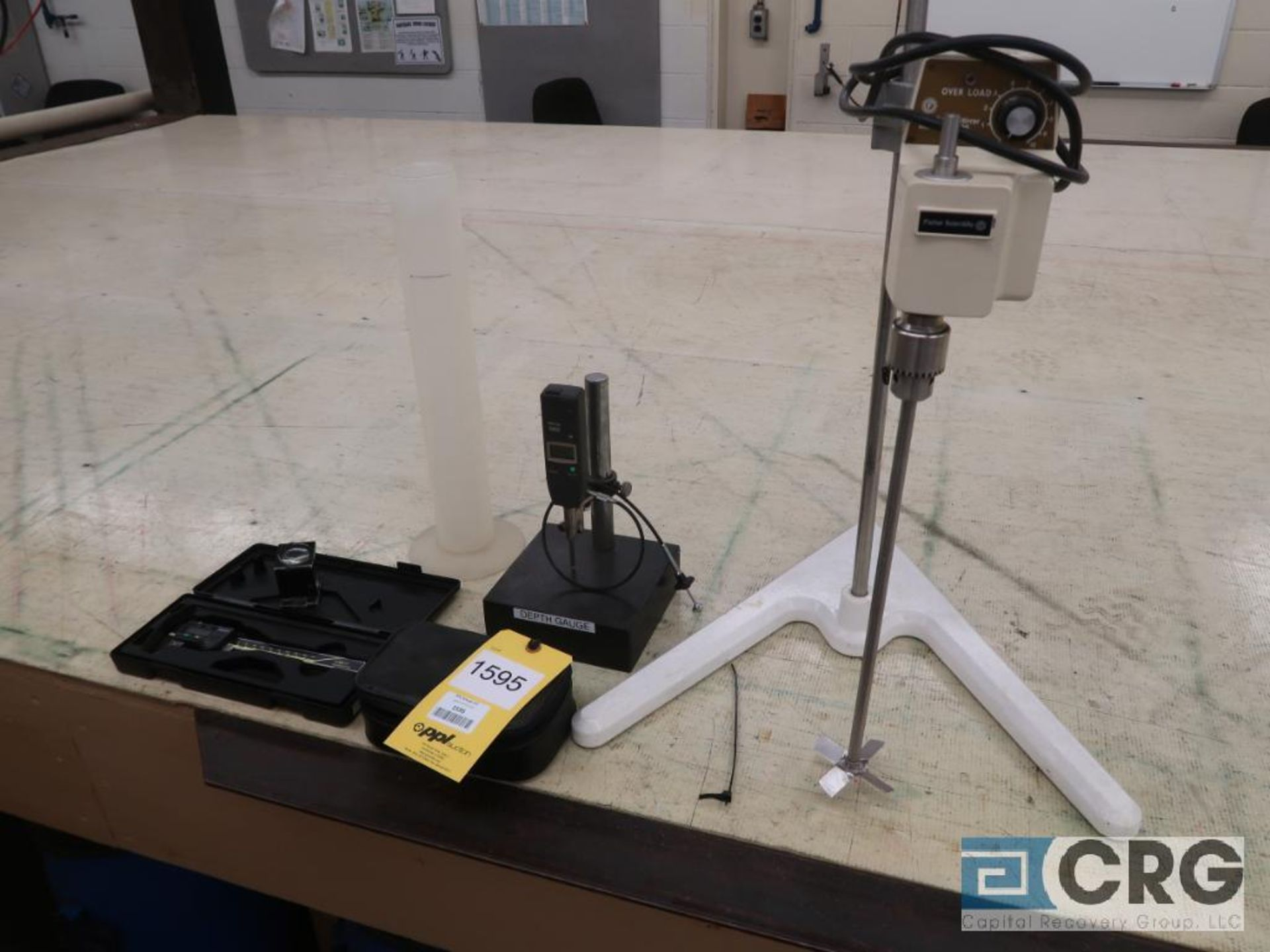 Lot of ass't lab equipment including Fisher SL-2400 sted fast stirrer, dial indicator depth gauge,